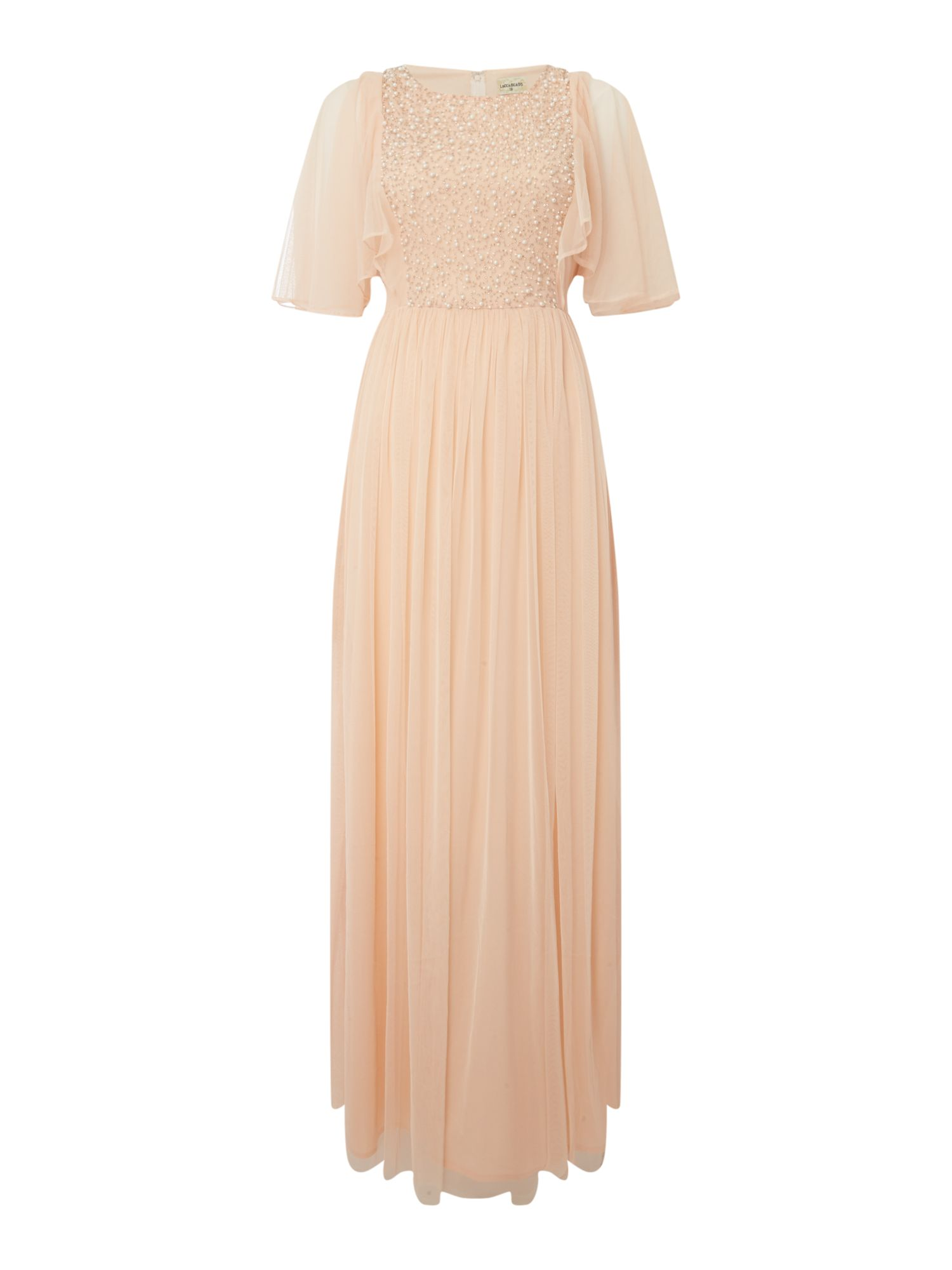 Lace and Beads Maxi dress with flare sleeve, Nude