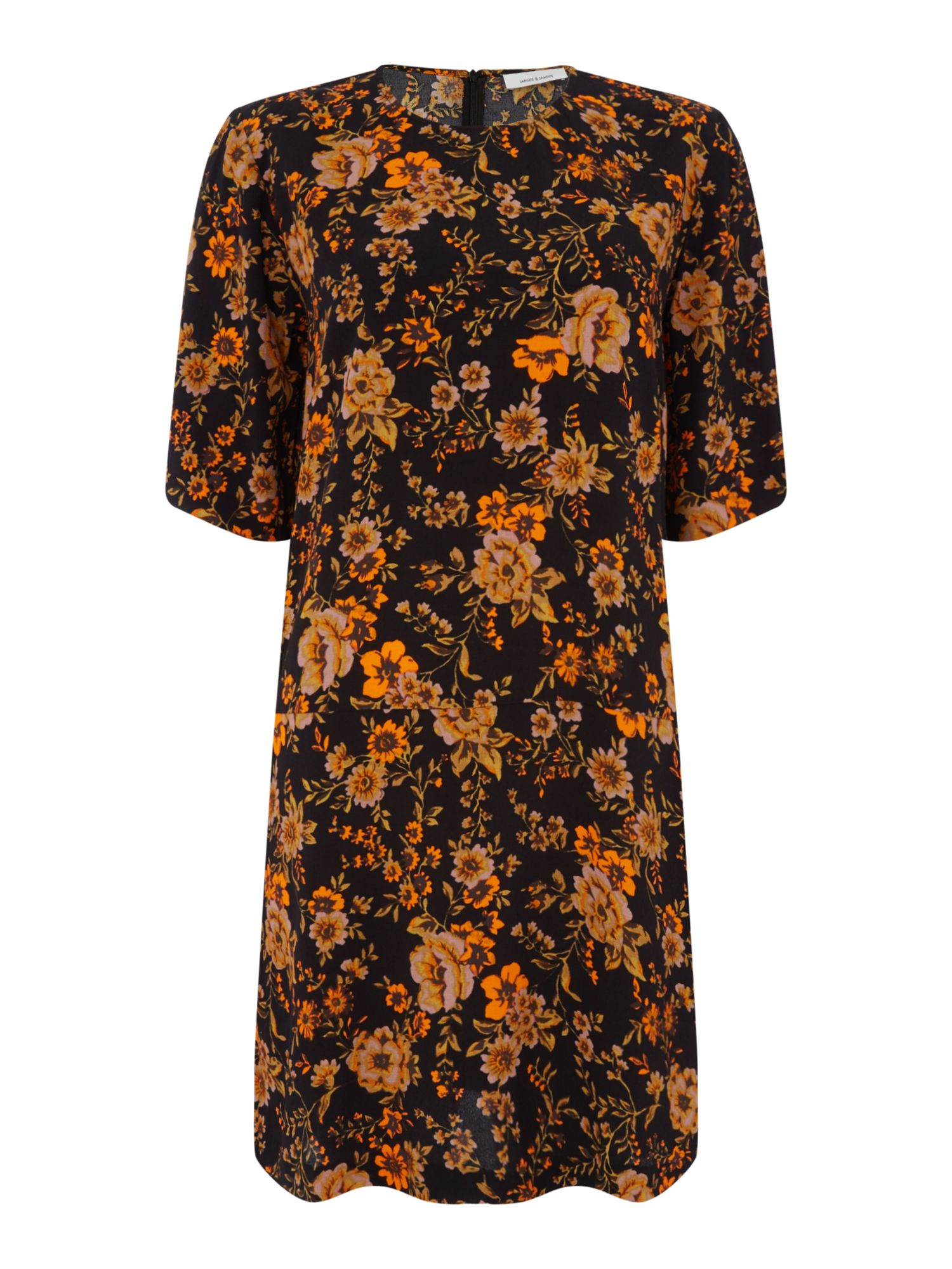 Samsoe and Samsoe Adelaide dark floral dress, Black