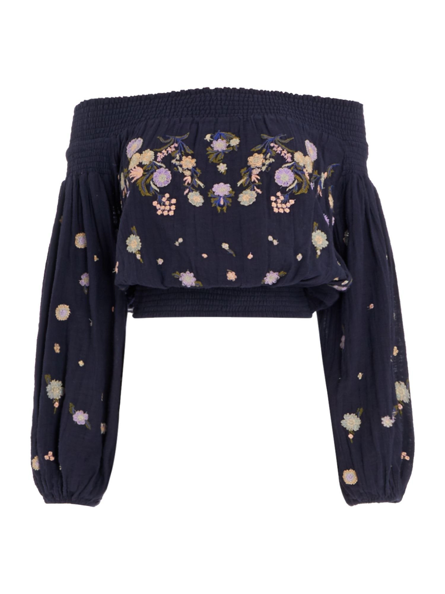Free People Long Sleeve Embroidered Saachi Bardot Top, Multi-Coloured