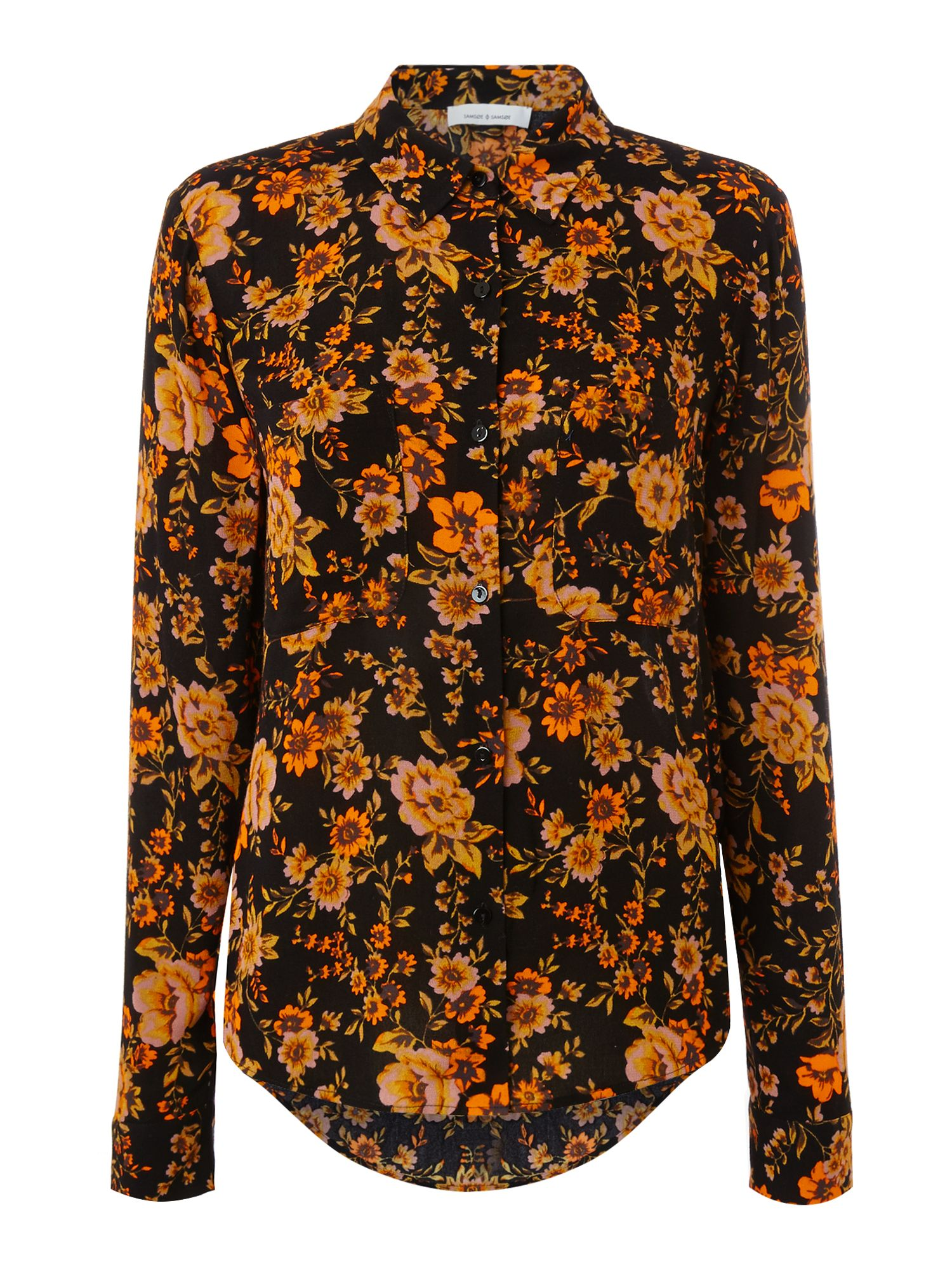 Samsoe and Samsoe Milly dark floral shirt, Black