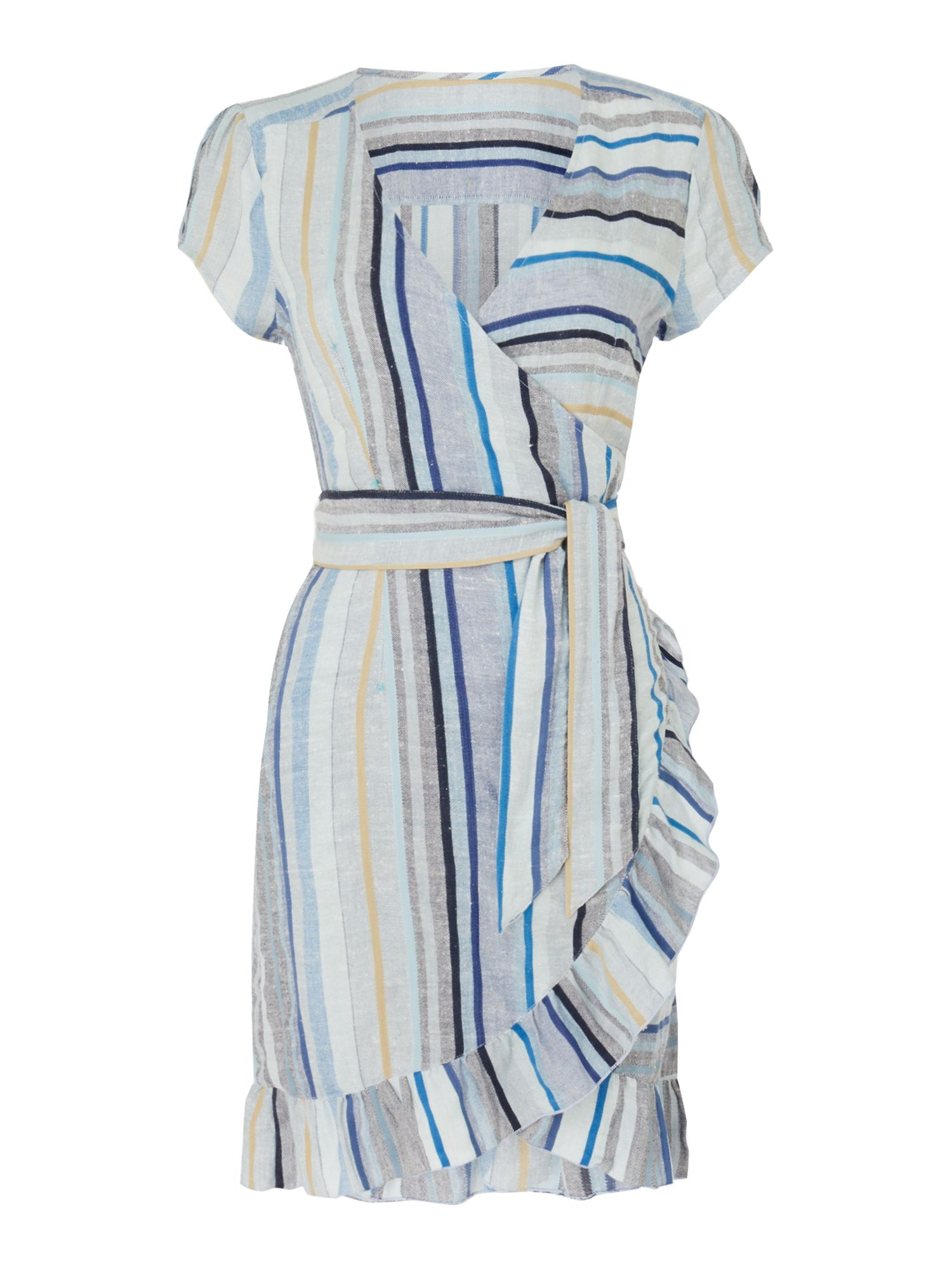 Free People Cap Sleeve Striped Wrap Midi Dress With Frill Hem, Multi-Coloured