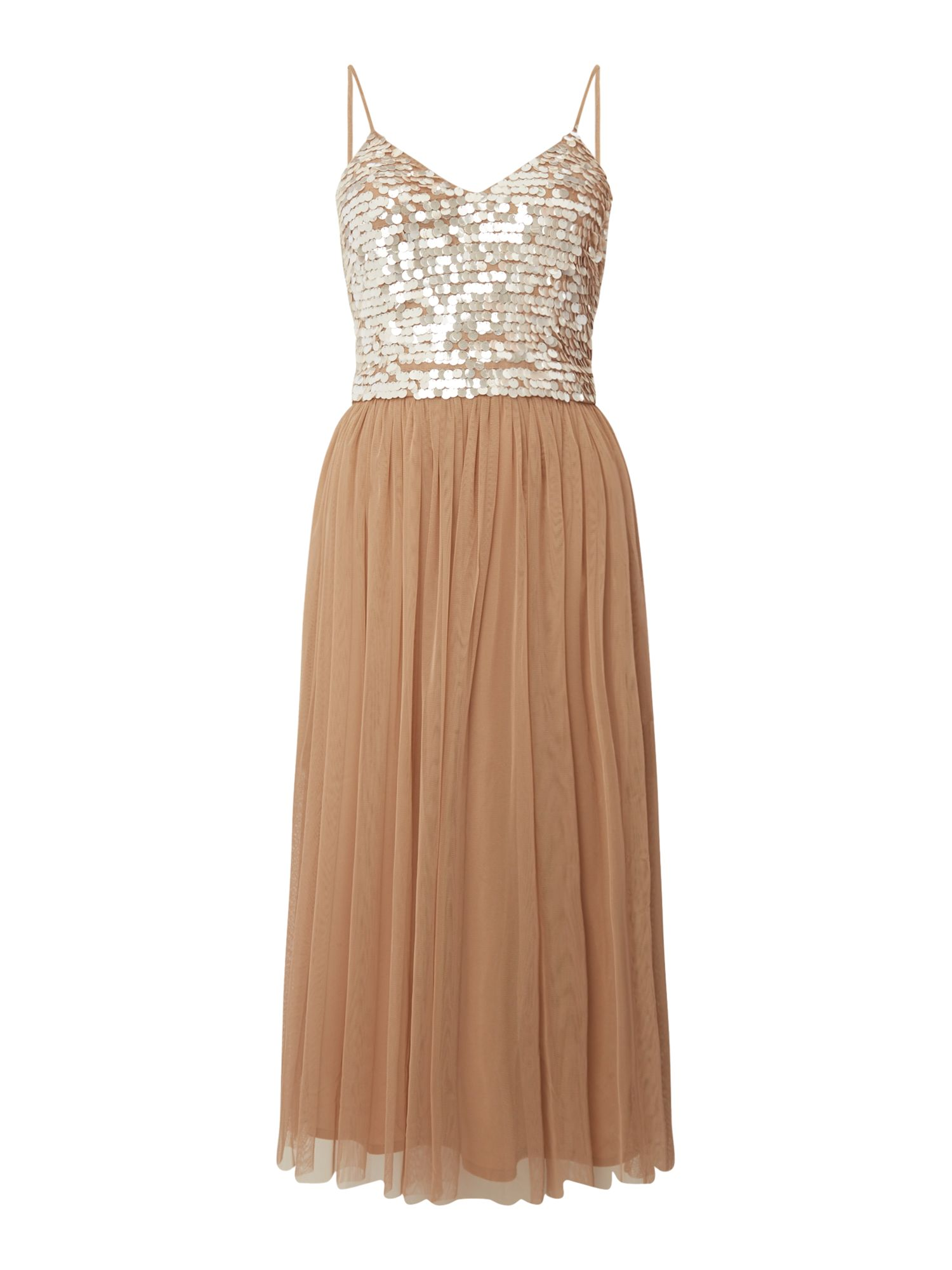 Lace and Beads Sleeveless Embellished Midi Bodycon, Taupe