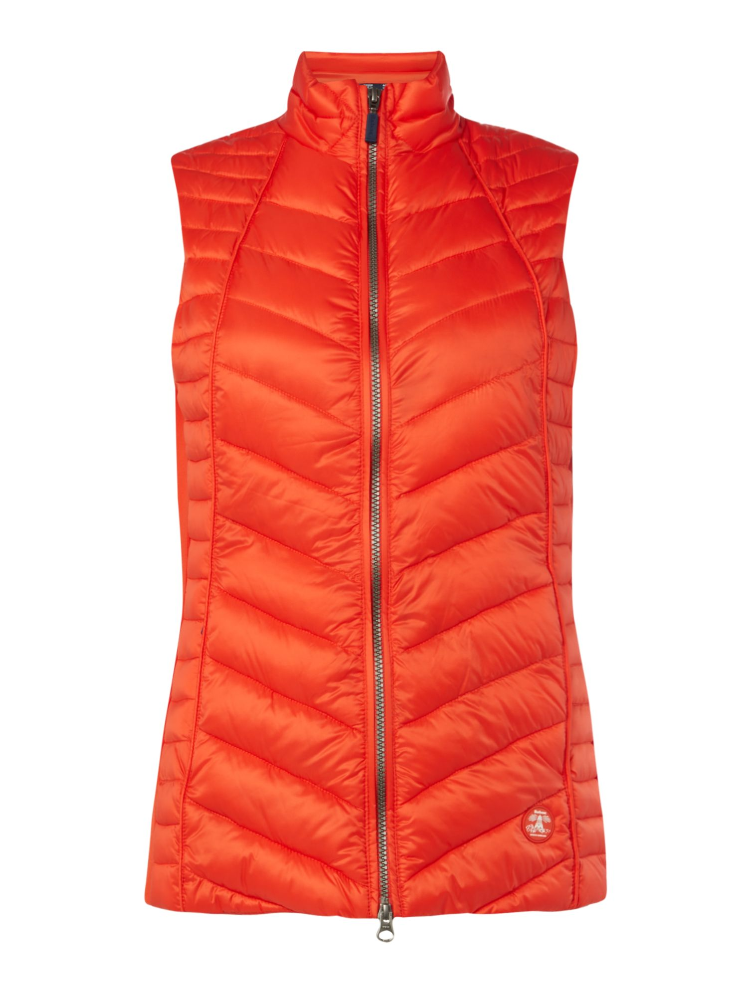Barbour Chevron Quilted Gilet With Jersey Side Panels, Orange