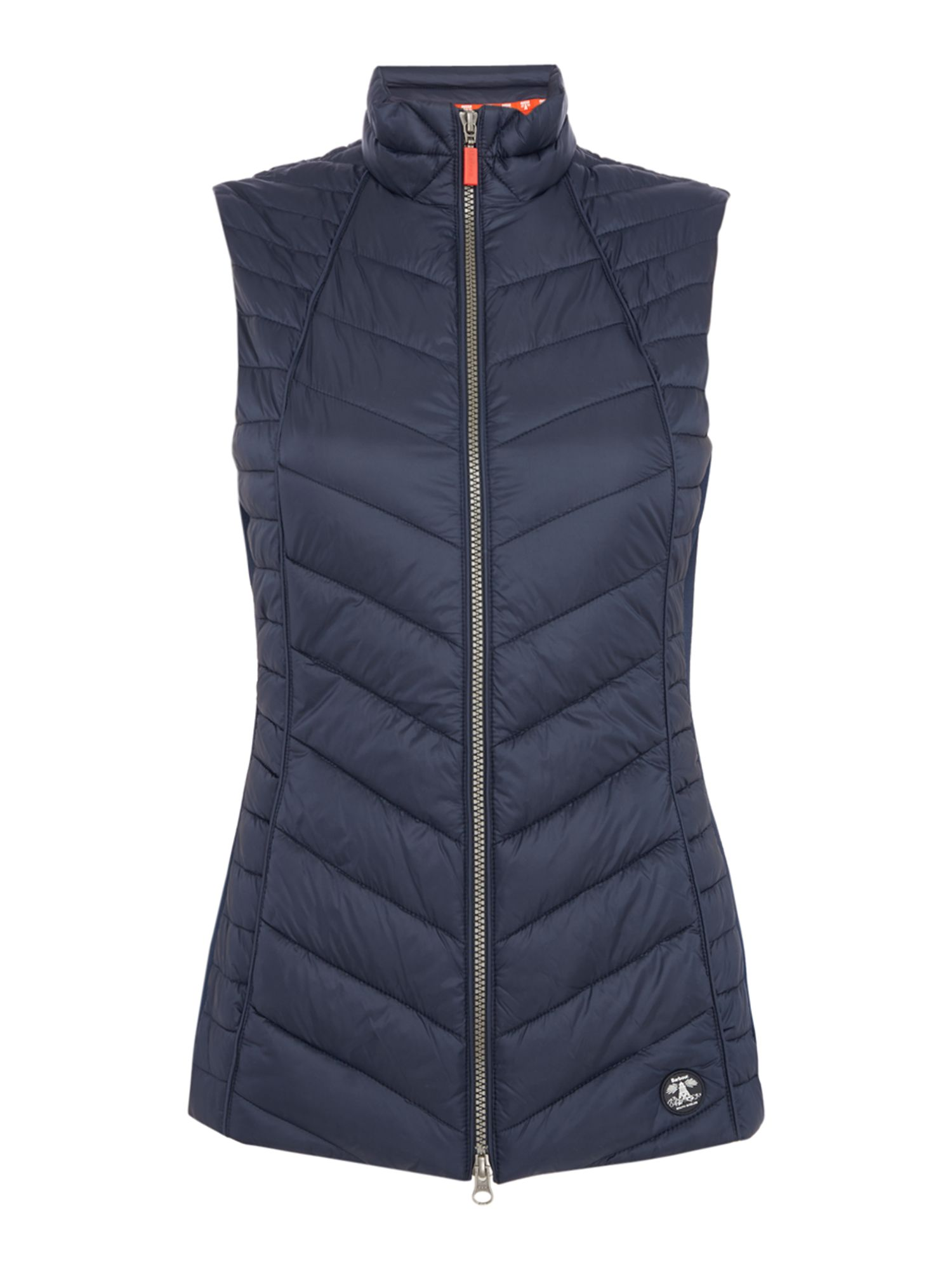Barbour Chevron Quilted Gilet With Jersey Side Panels, Blue