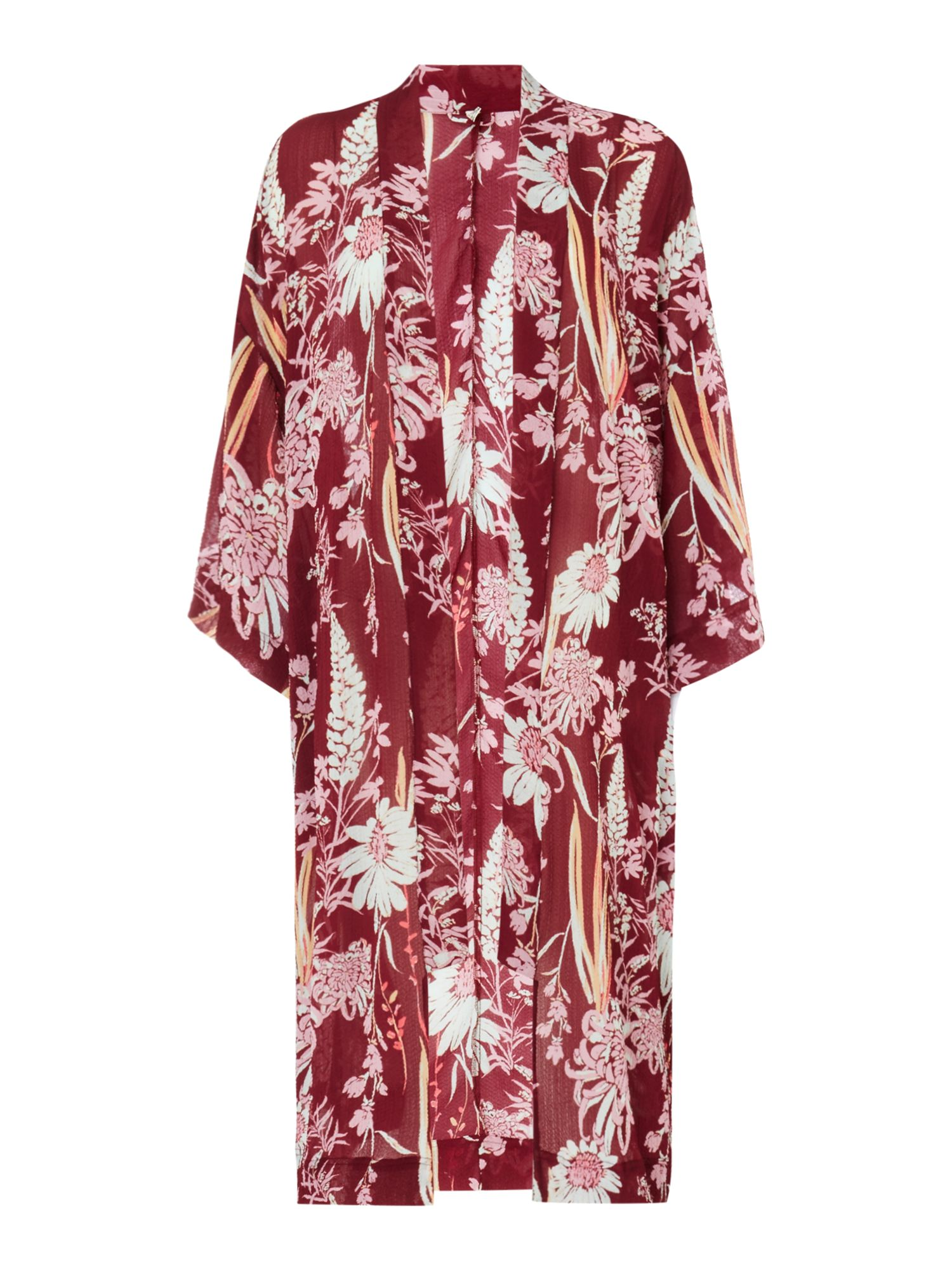 Free People Long Printed If You Say So Kimono, Purple