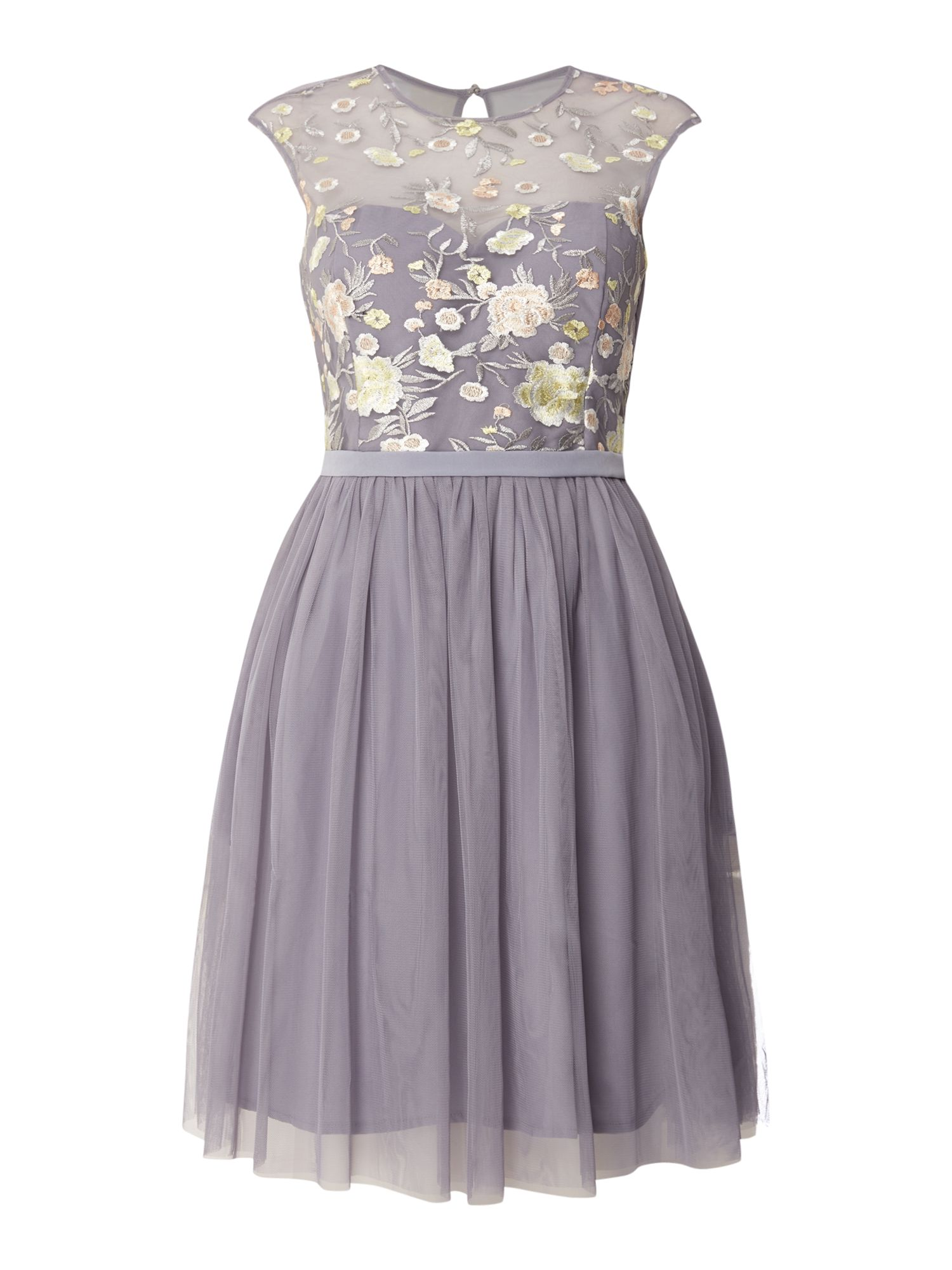 Little Mistress Mesh top fit and flare dress, Grey