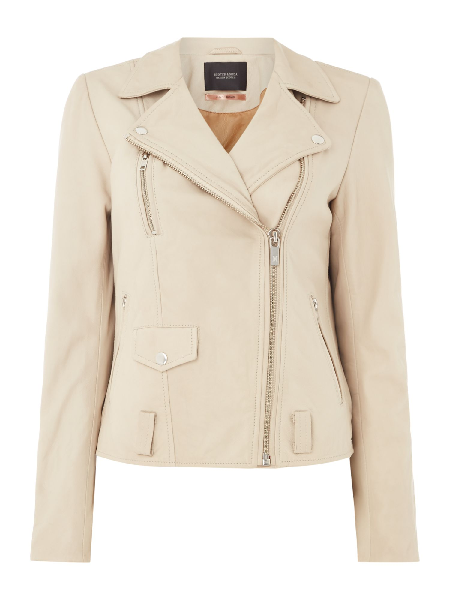 Maison Scotch Basic leather  jacket, White