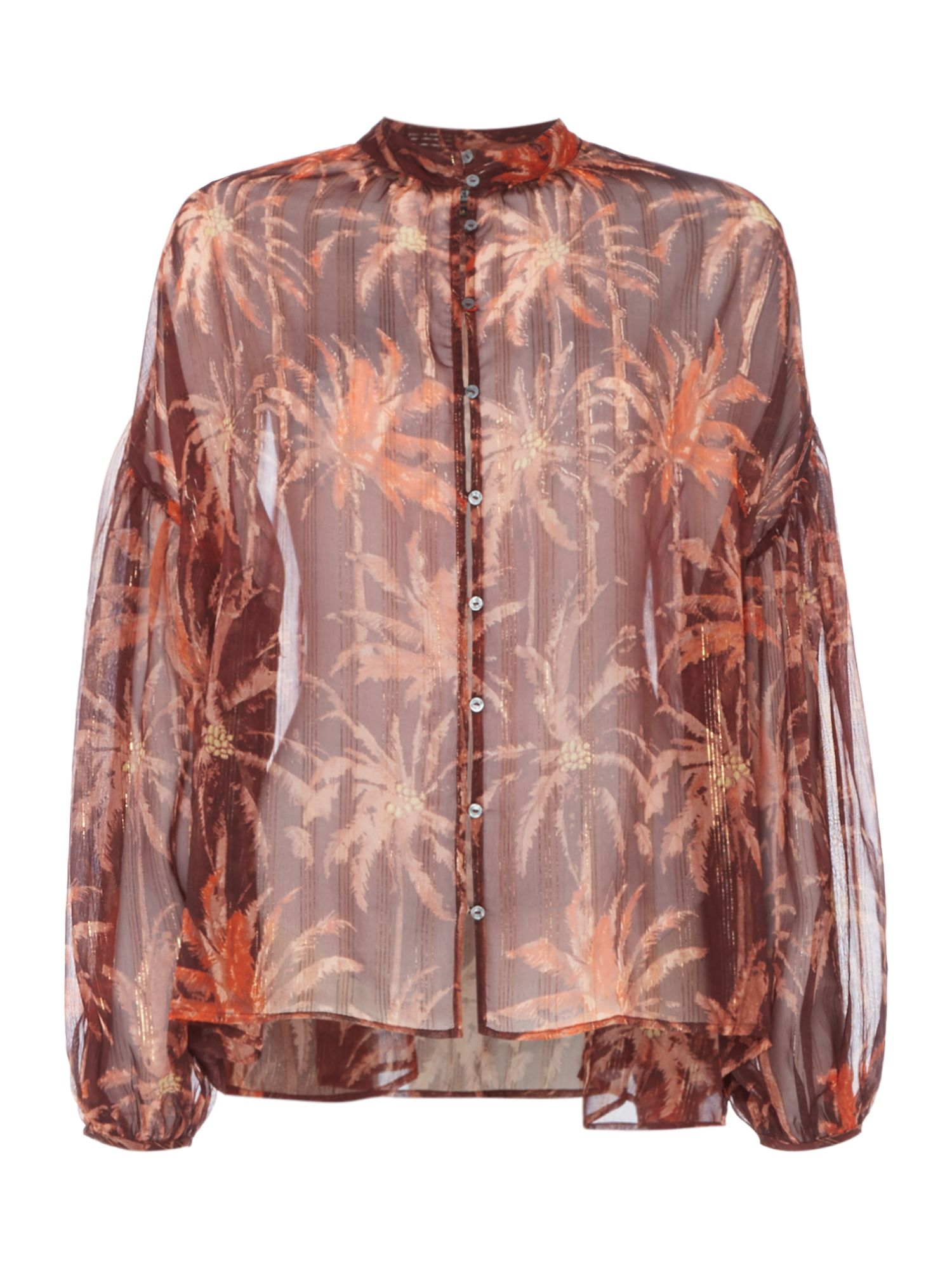 Maison Scotch Dropped shoulder sheer printed Blouse, Multi-Coloured