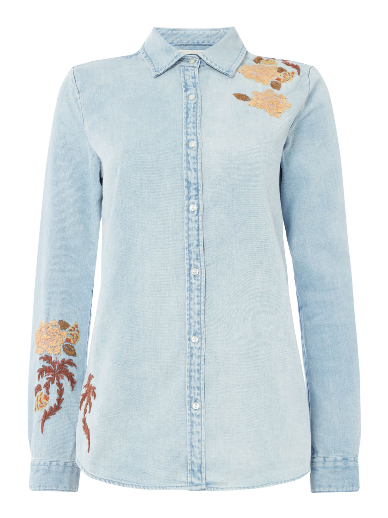 Maison Scotch Denim Shirt with embroidery, Multi-Coloured