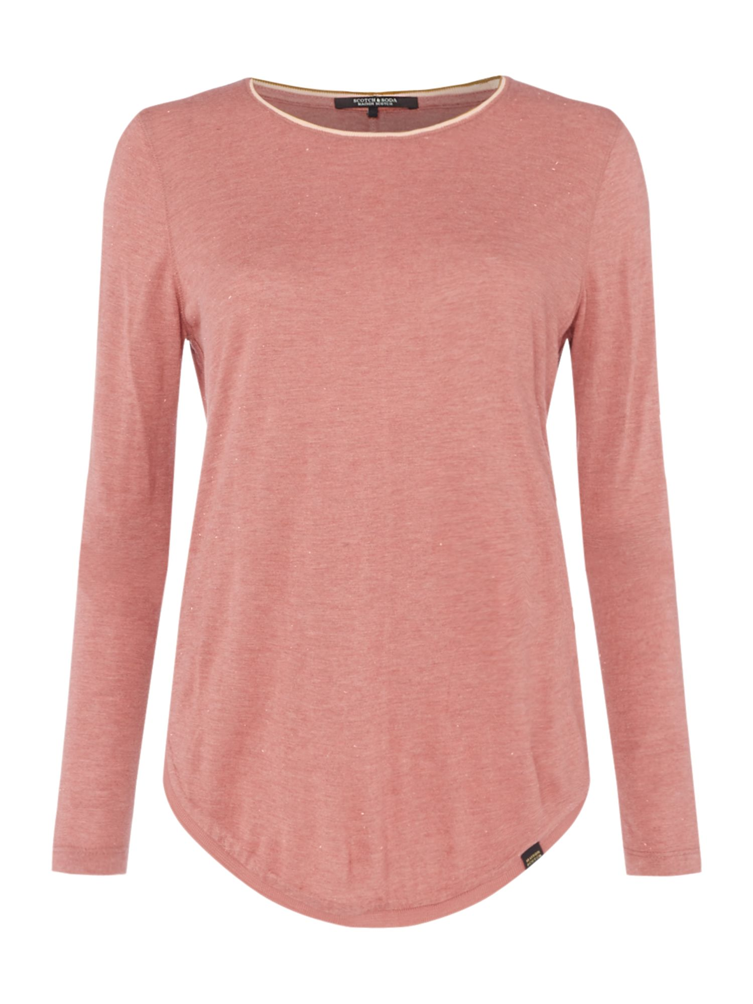 Maison Scotch Long sleeve top with rib neckline, Rose