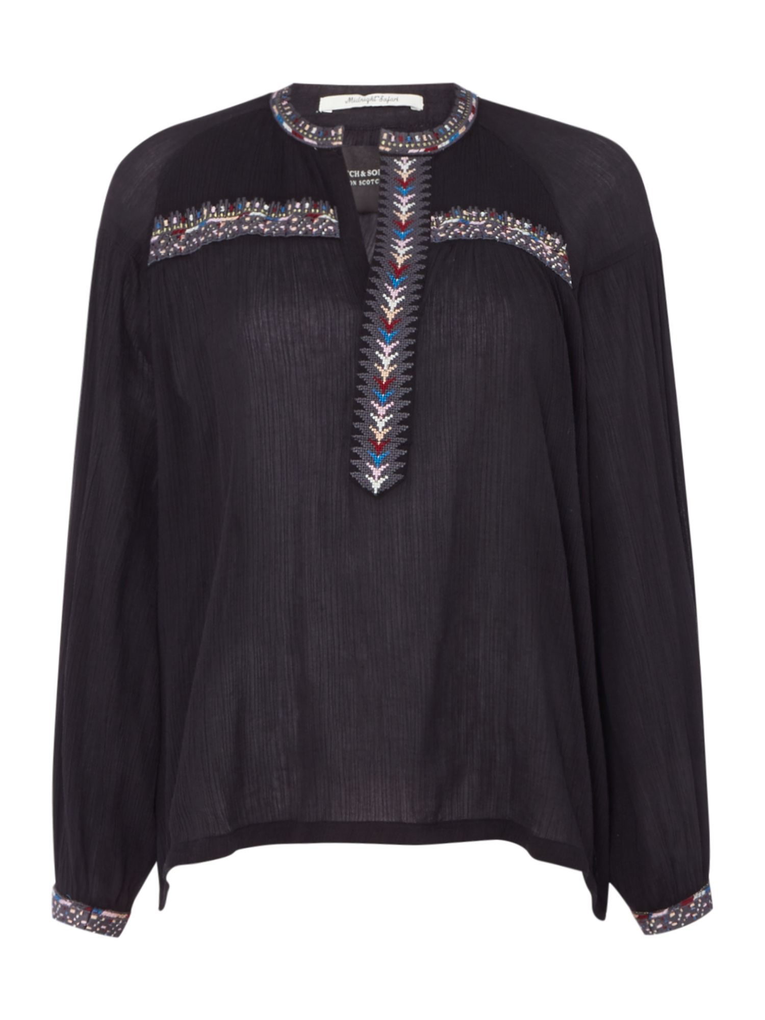 Maison Scotch Boho top with embroidery detail, Black