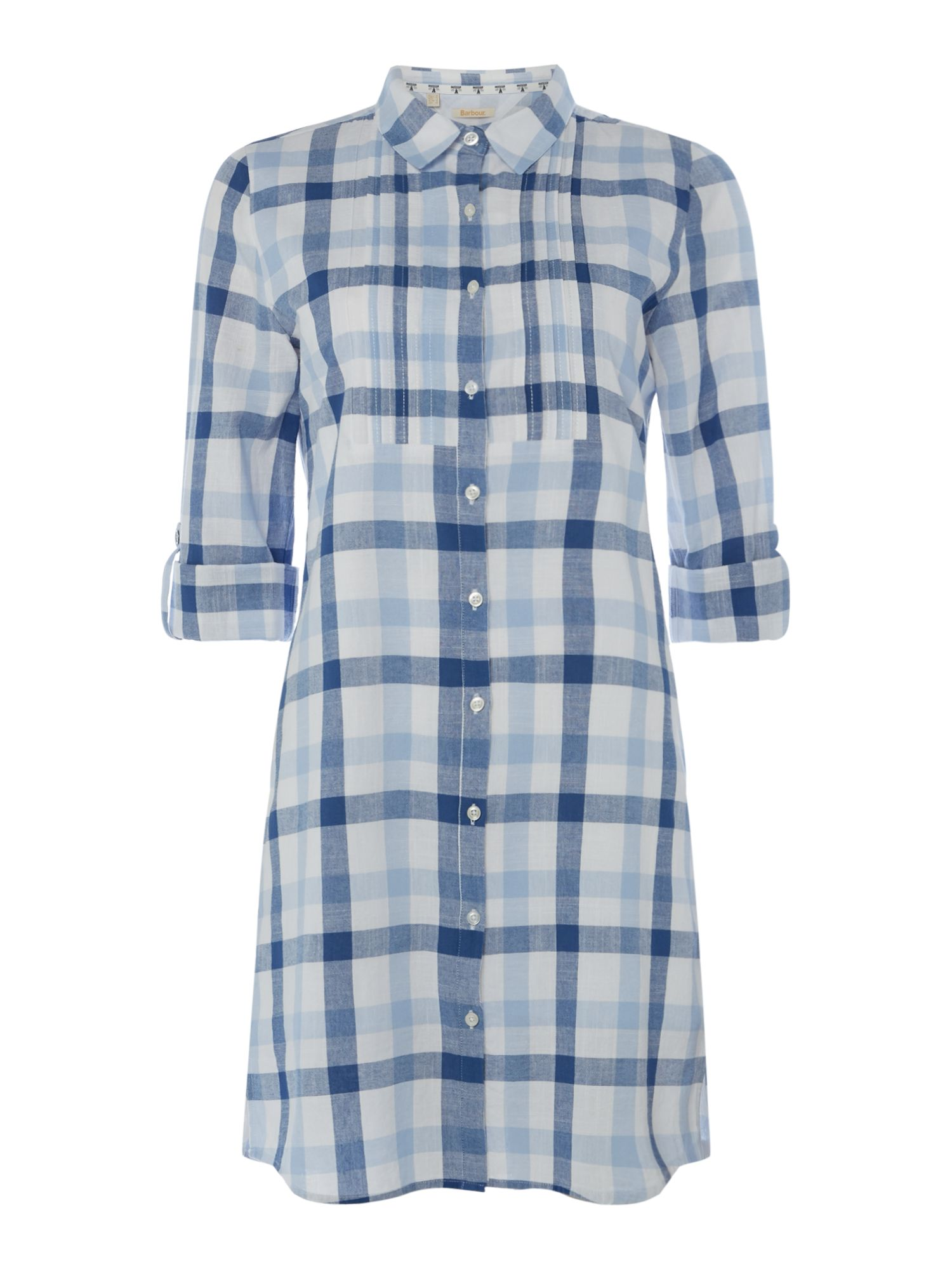 Barbour 34 Sleeve Checked Shirt Dress, Multi-Coloured