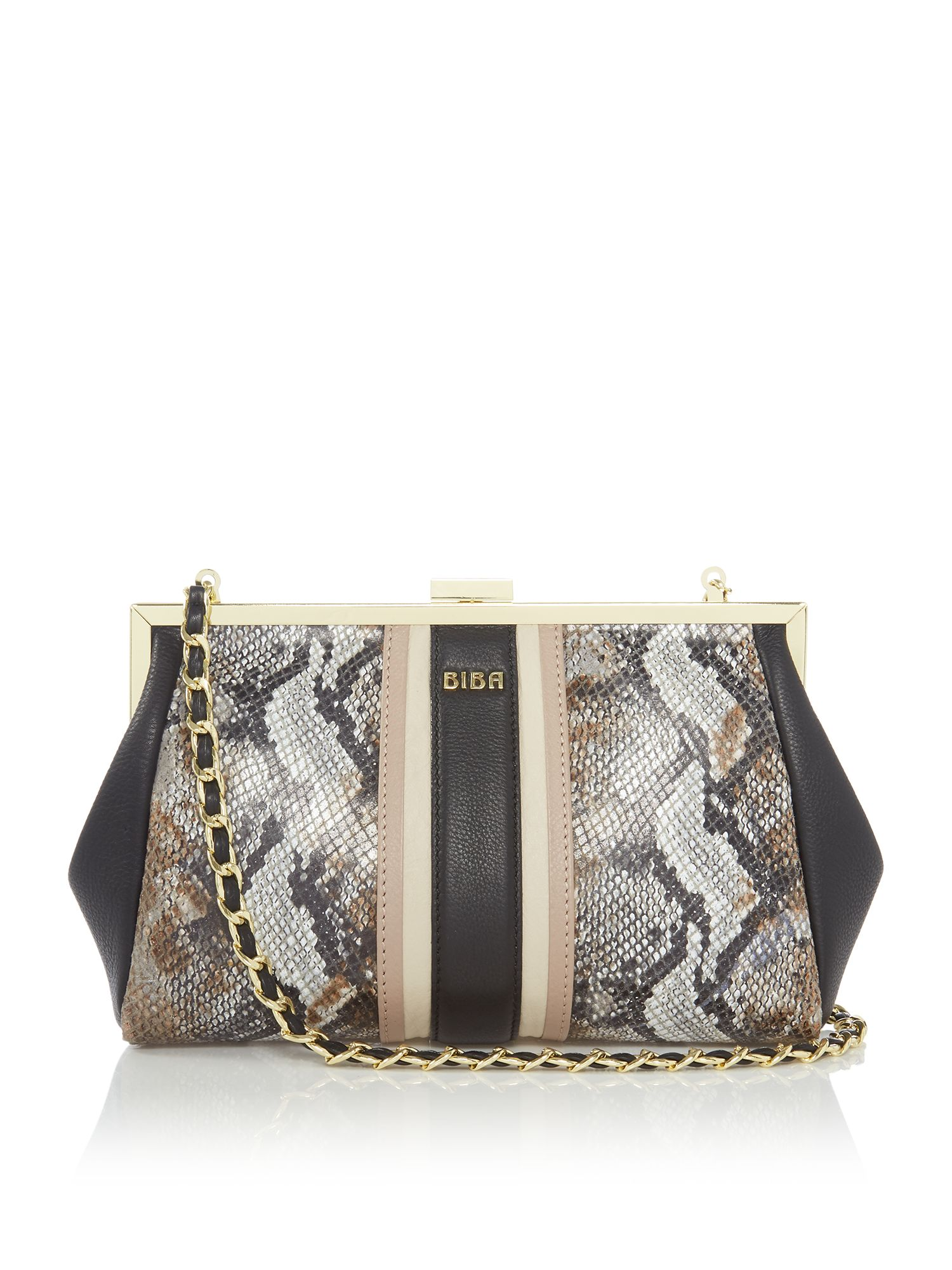 Biba Paige Frame Leather Clutch Bag, Multi-Coloured