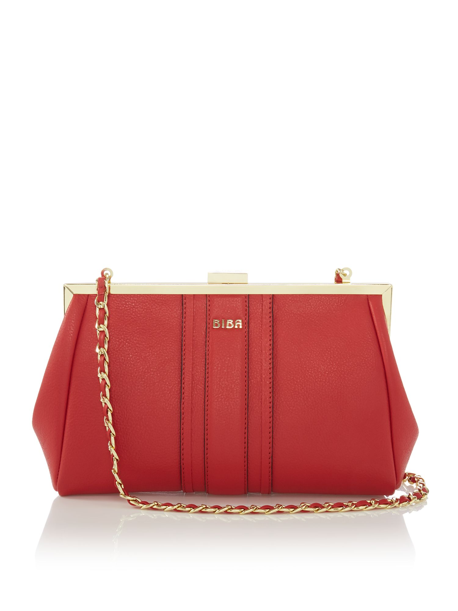 Biba Paige Frame Leather Clutch Bag, Red