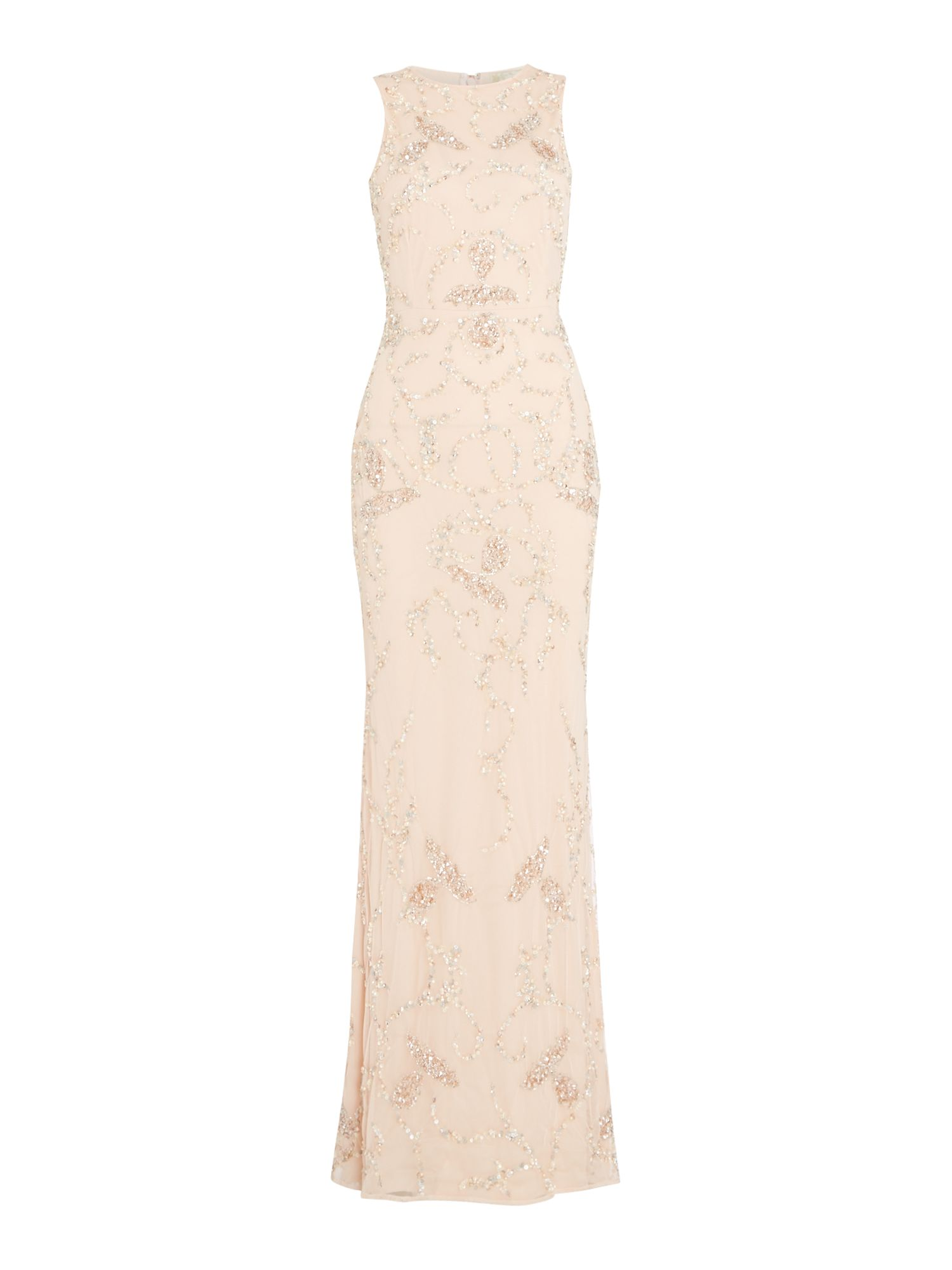 Lace and Beads Round neck embellished gown, Nude