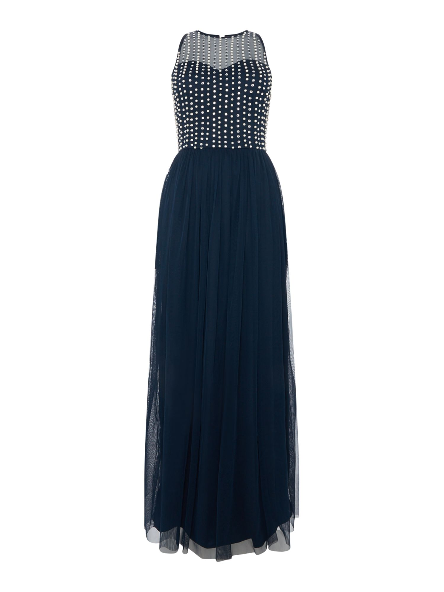 Lace and Beads Mesh embellished maxi dress, Blue