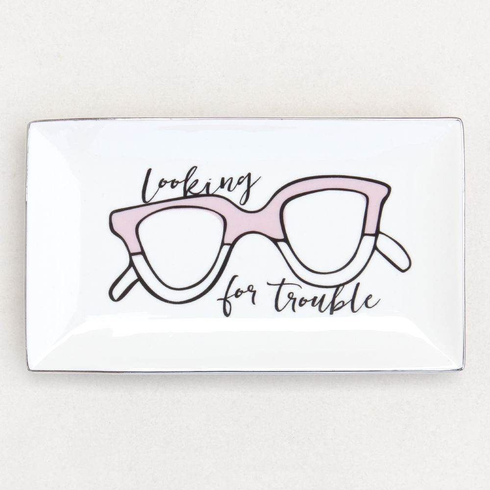 Caroline Gardner Looking for Trouble Sunglasses Trinket Tray, Light Pink