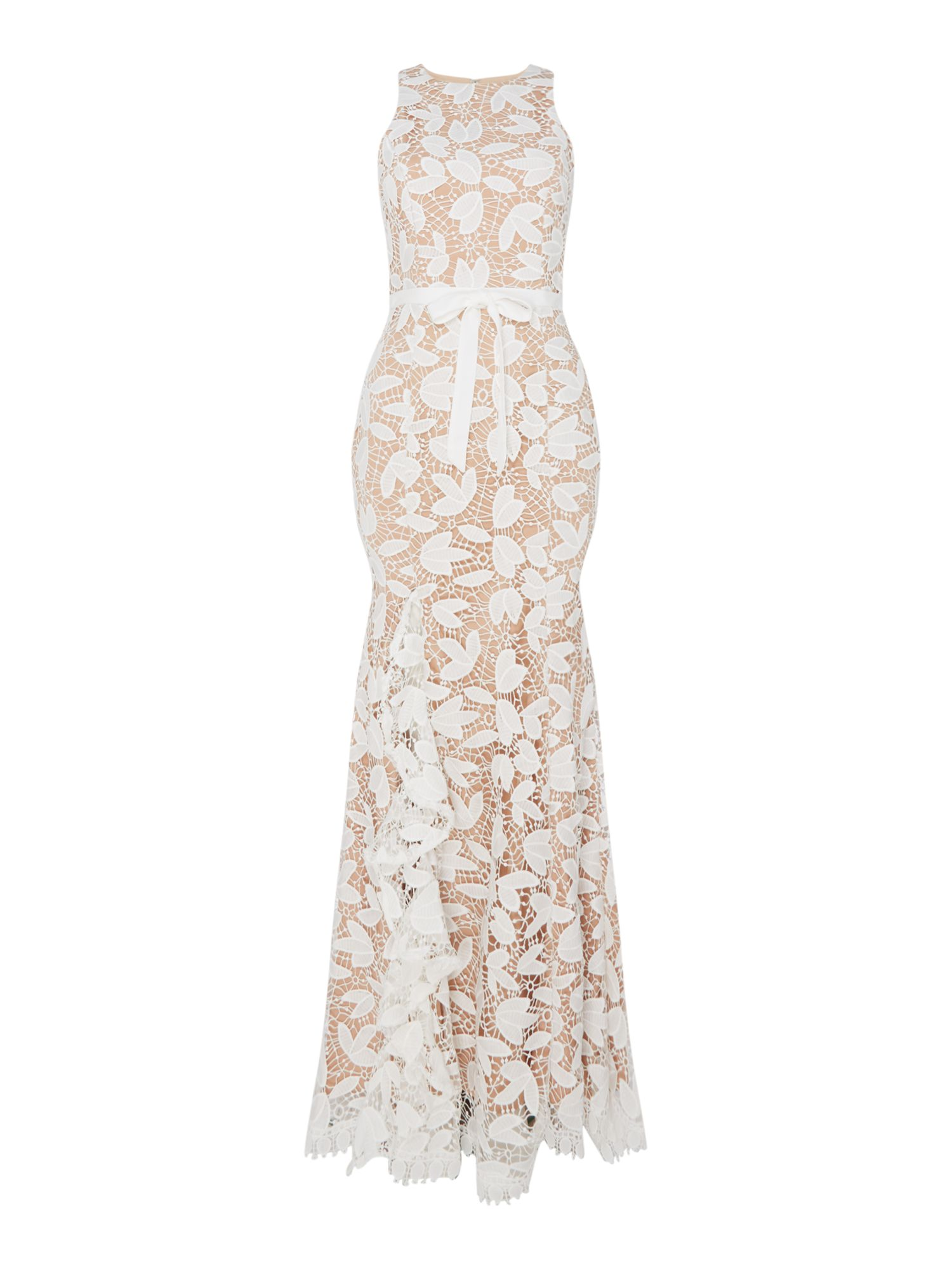Jarlo Gown with petal print and hem slit, White