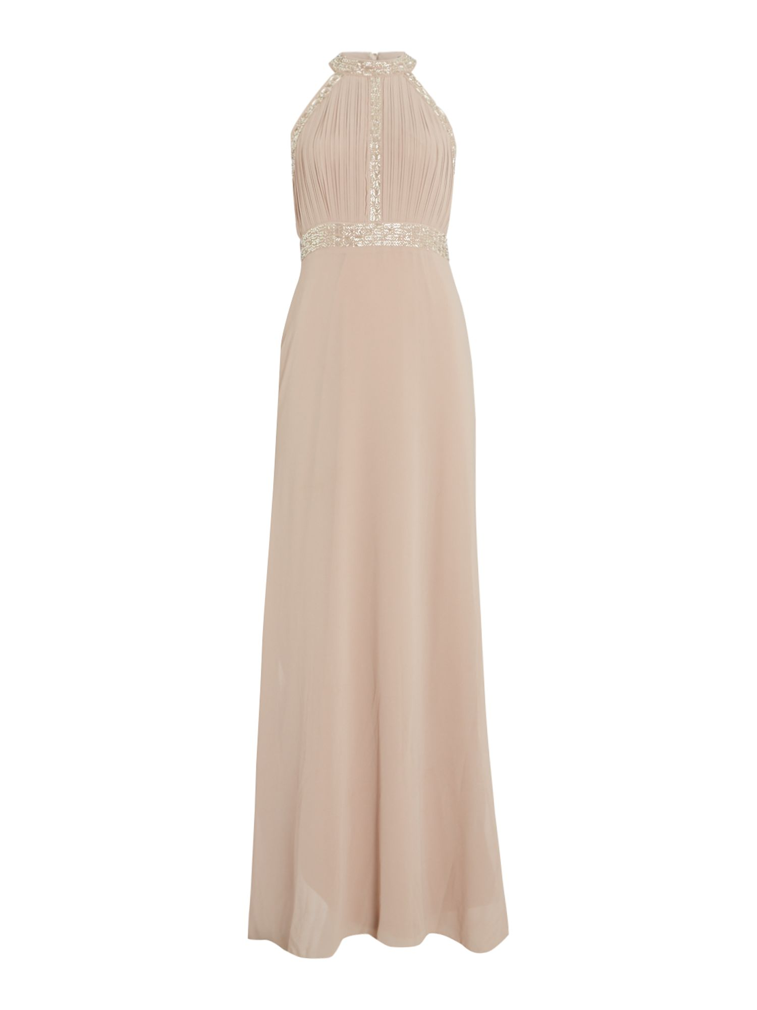 tfnc High neck embellished maxi dress, Mink