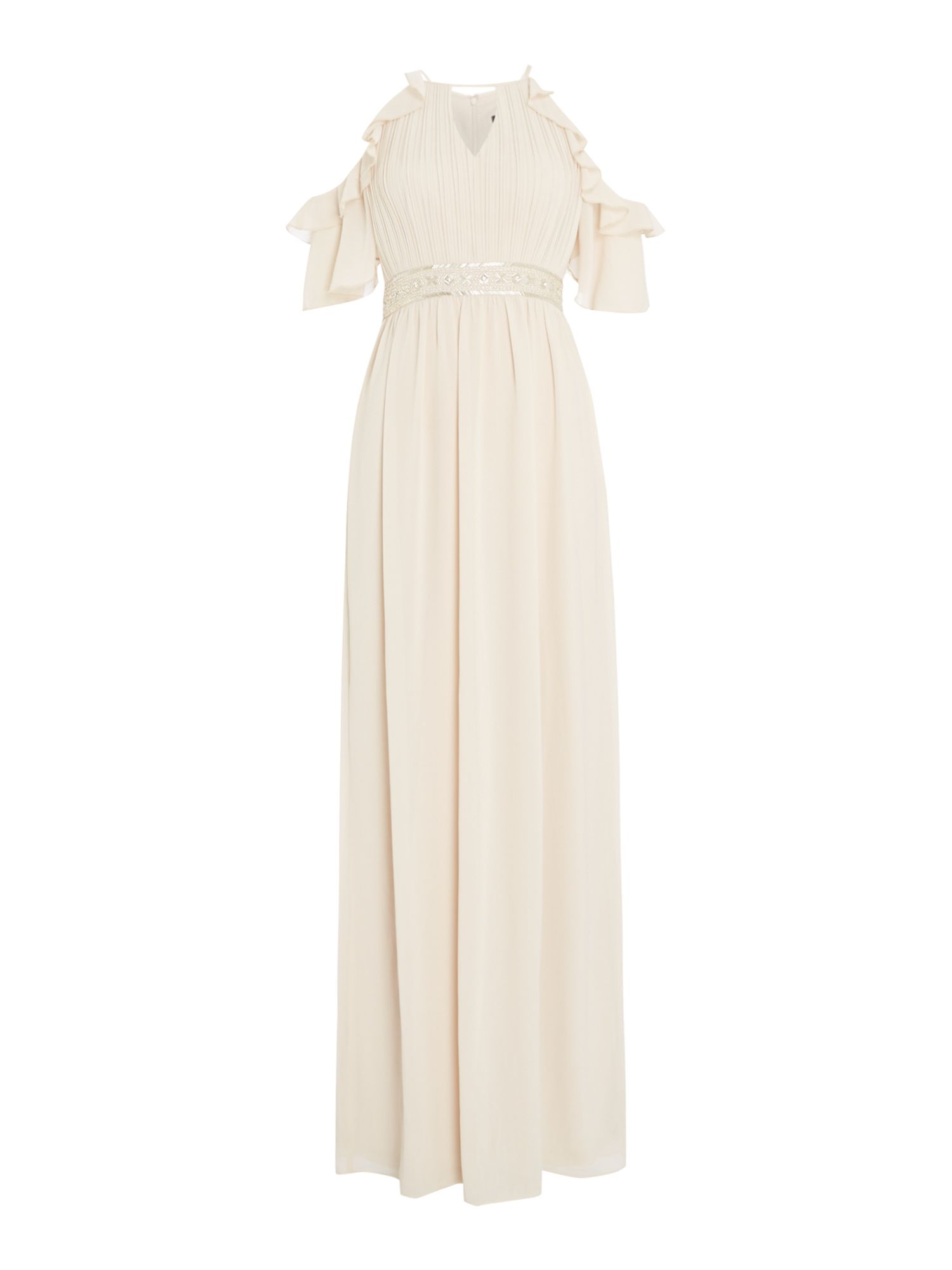 tfnc High neck ruffle gown, Nude