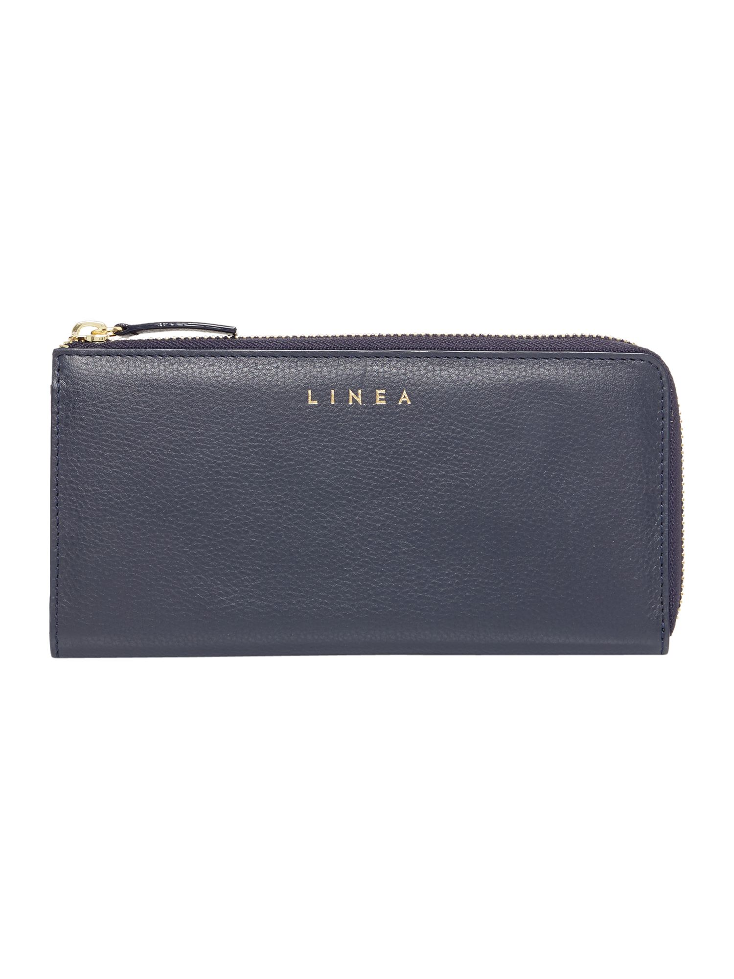 Linea Bennie Zip Around Leather Purse, Blue Blue