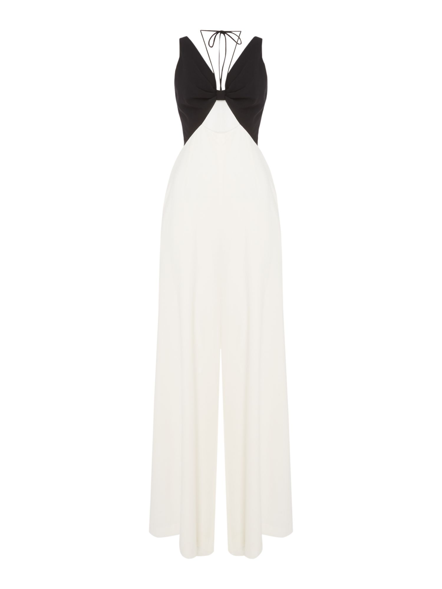 Jill Jill Stuart V neck jumpsuit with cut out detail, Black & White