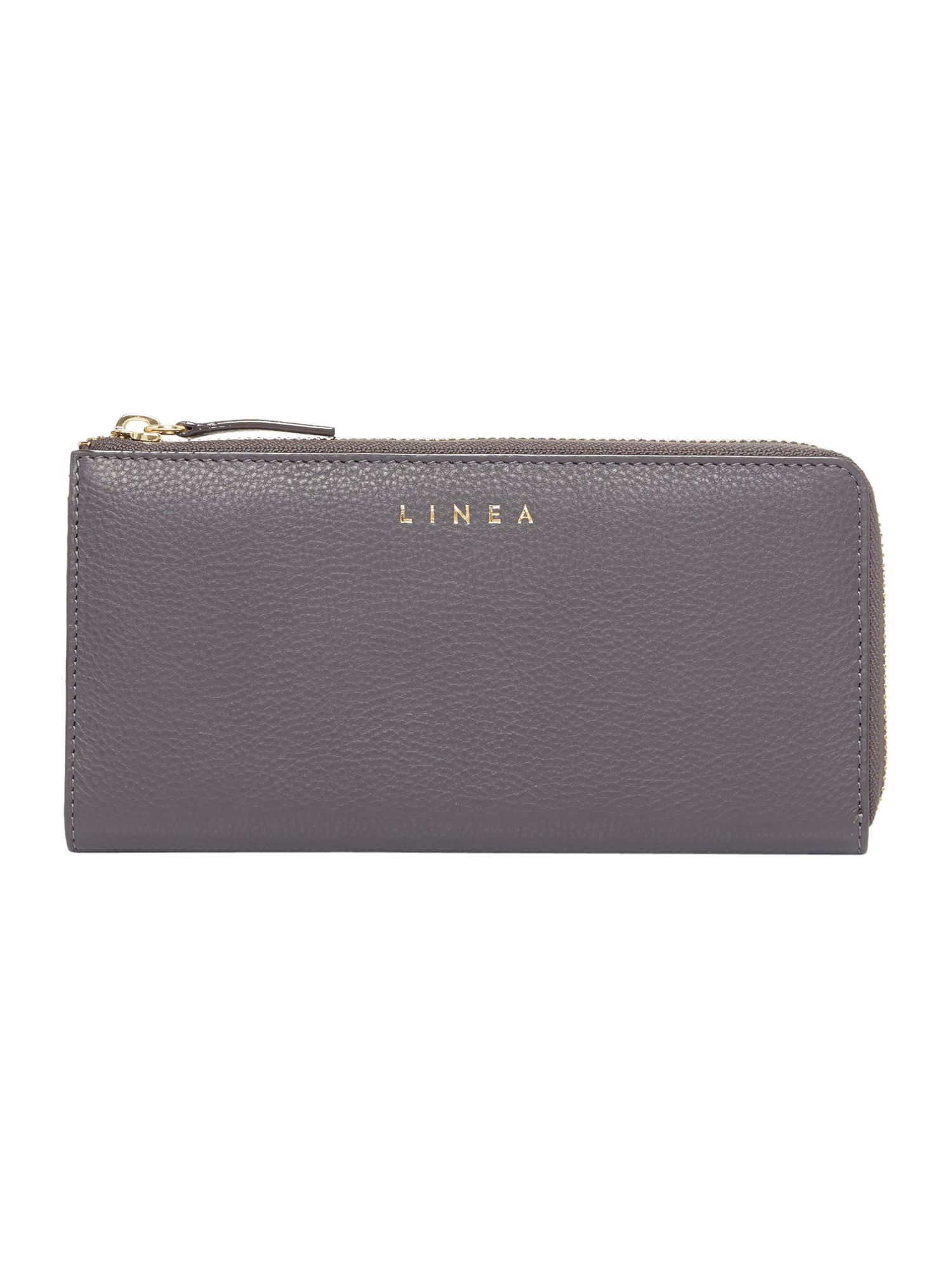 Linea Bennie Zip Around Leather Purse, Grey