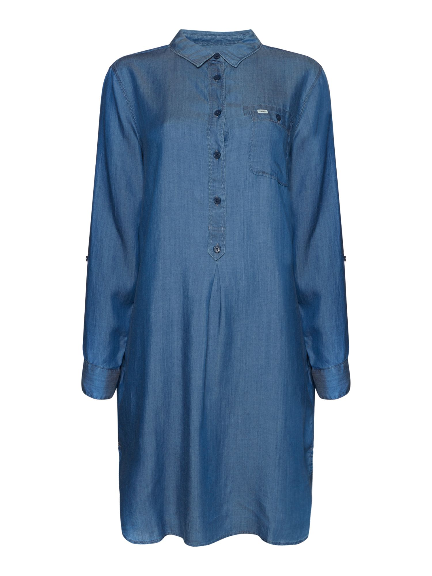 Lee Relaxed Fit Roll Sleeve Chambray Shirt Dress, Chambray