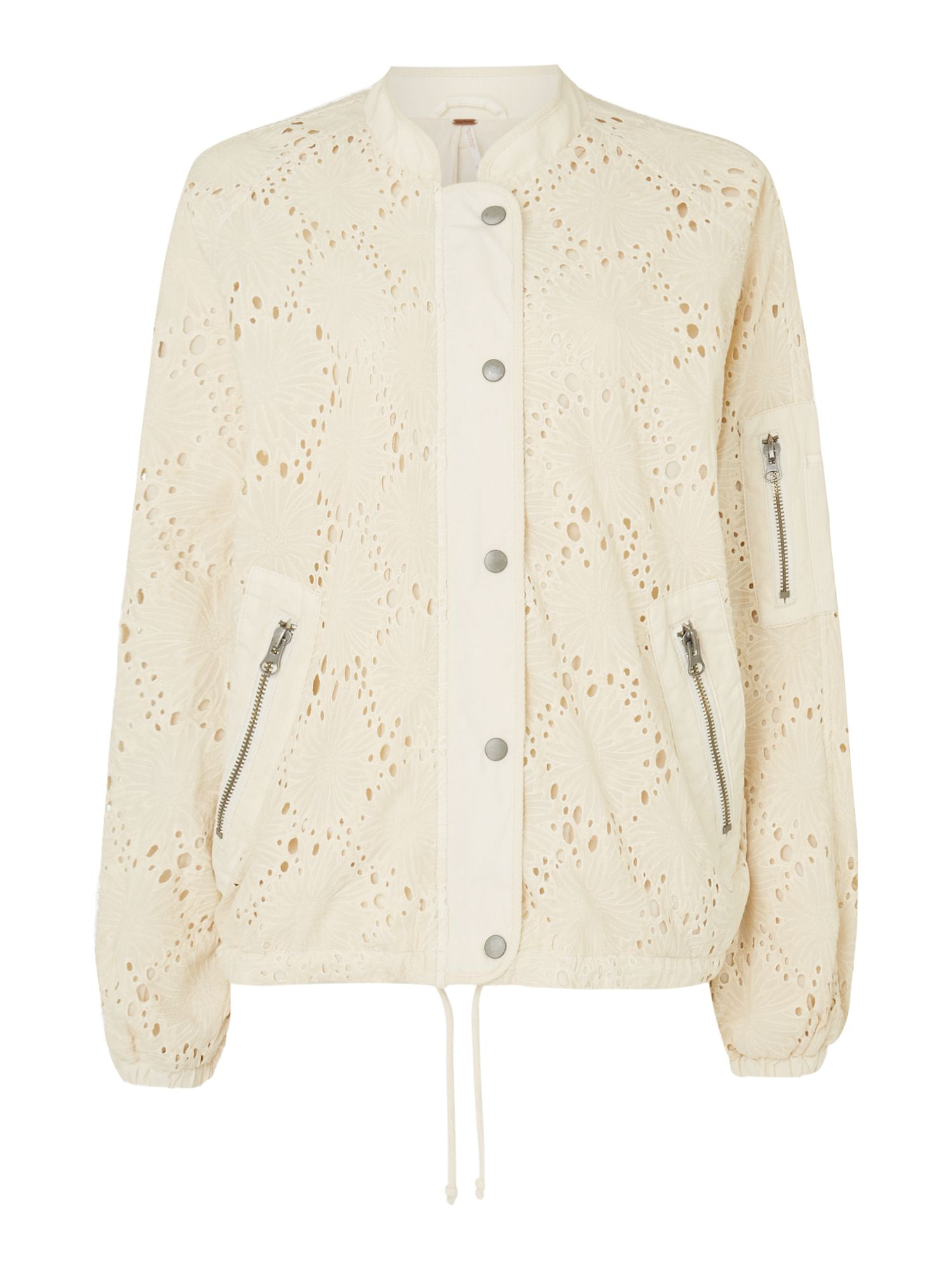 Free People Bomber Style Daisy Jane Jacket, White