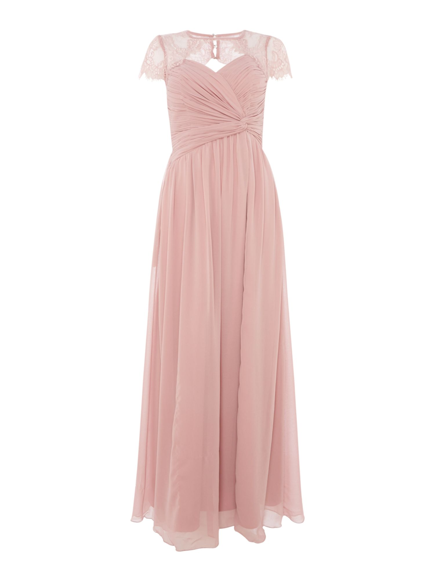 Little Mistress Cap sleeve gown with cross over detail, Pink