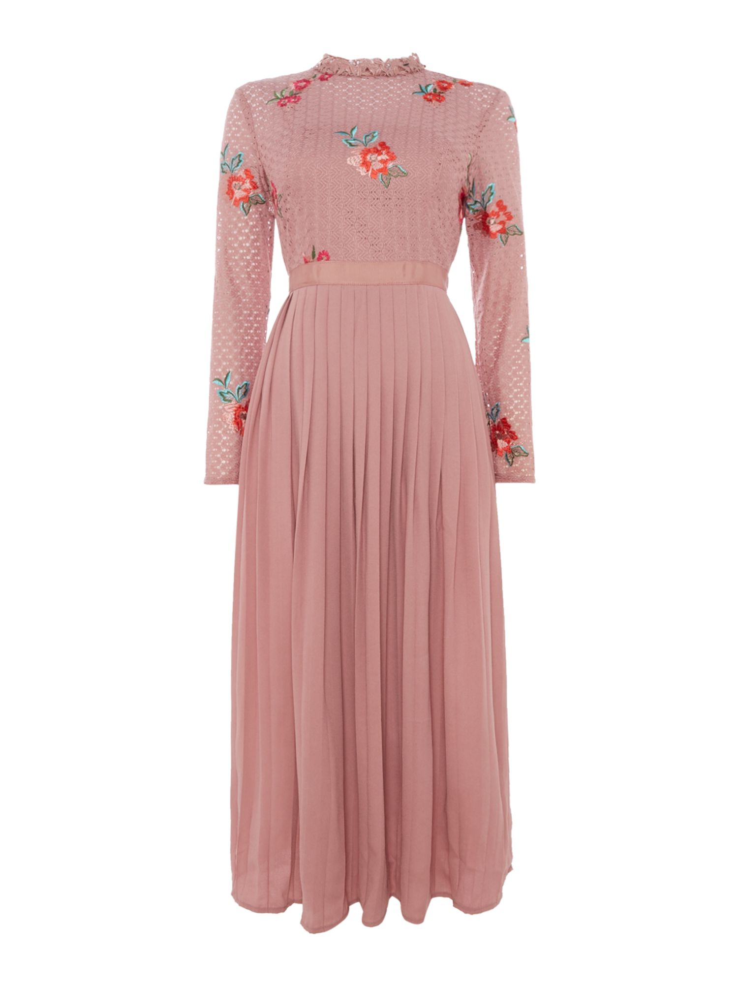 Little Mistress High neck embroidered pleated midi, Pink
