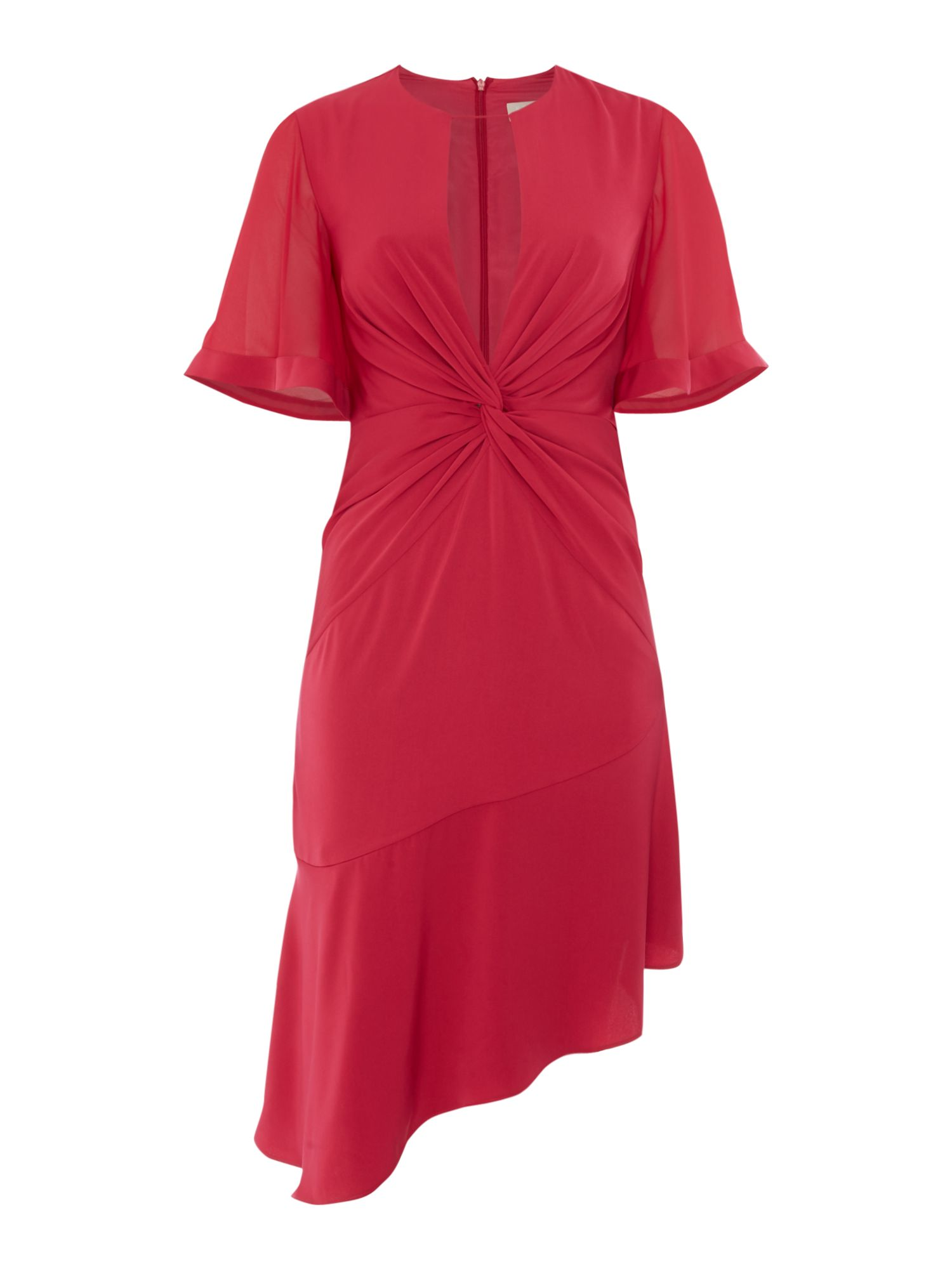 Keepsake Short sleeve dress with twist front, Pink