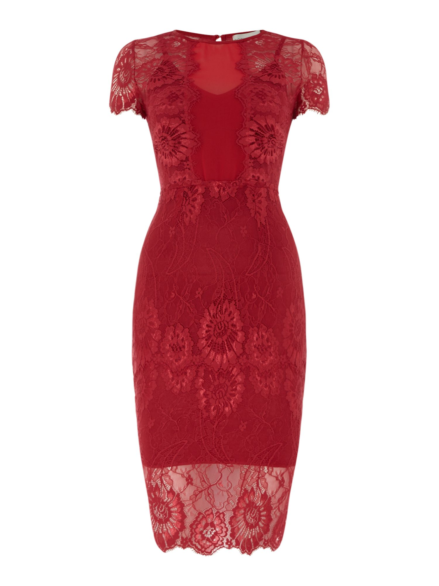 Body Frock Round neck lace shift, Red