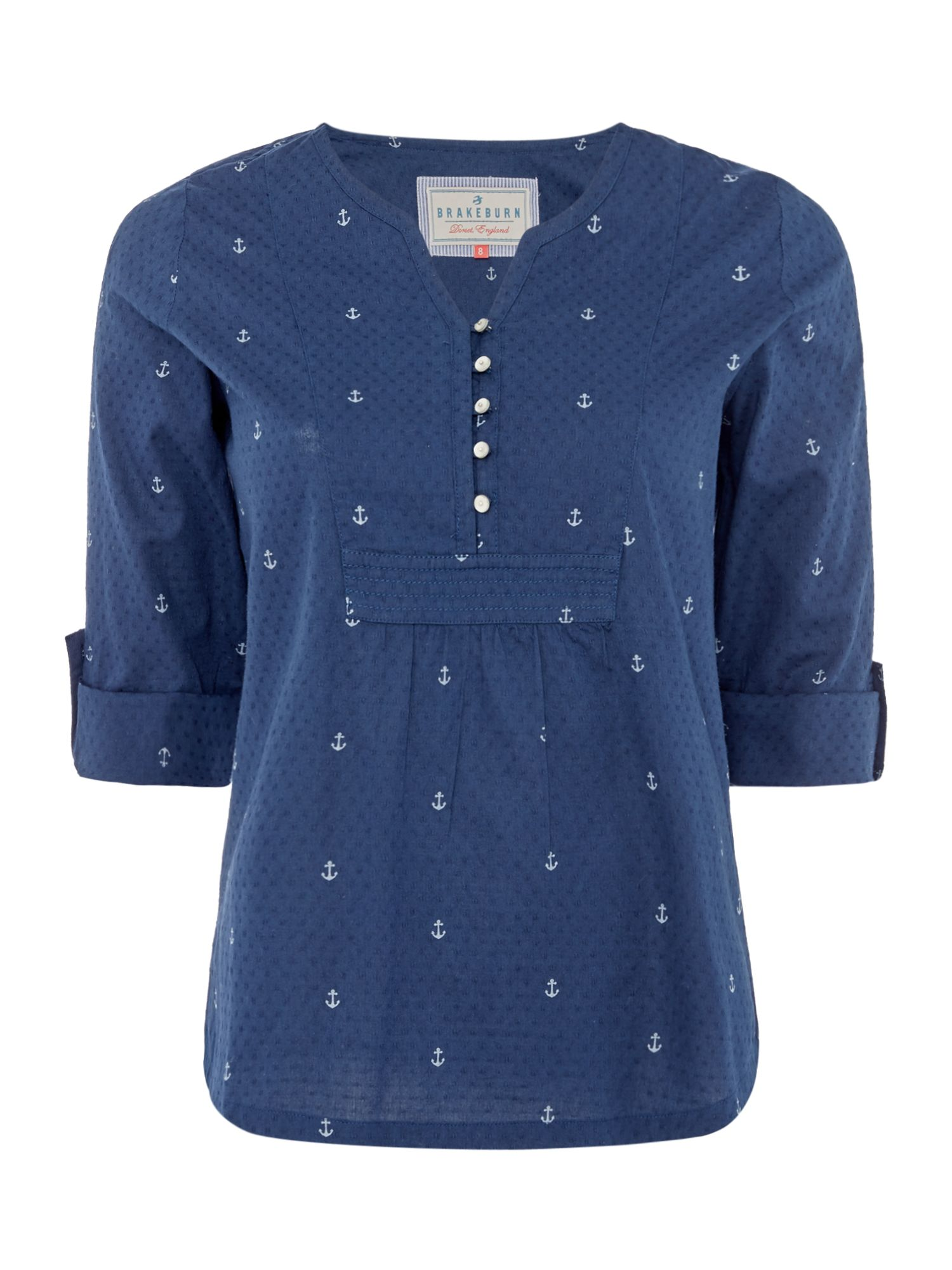 Brakeburn Anchors Popover Blouse 34 Sleeves, Blue