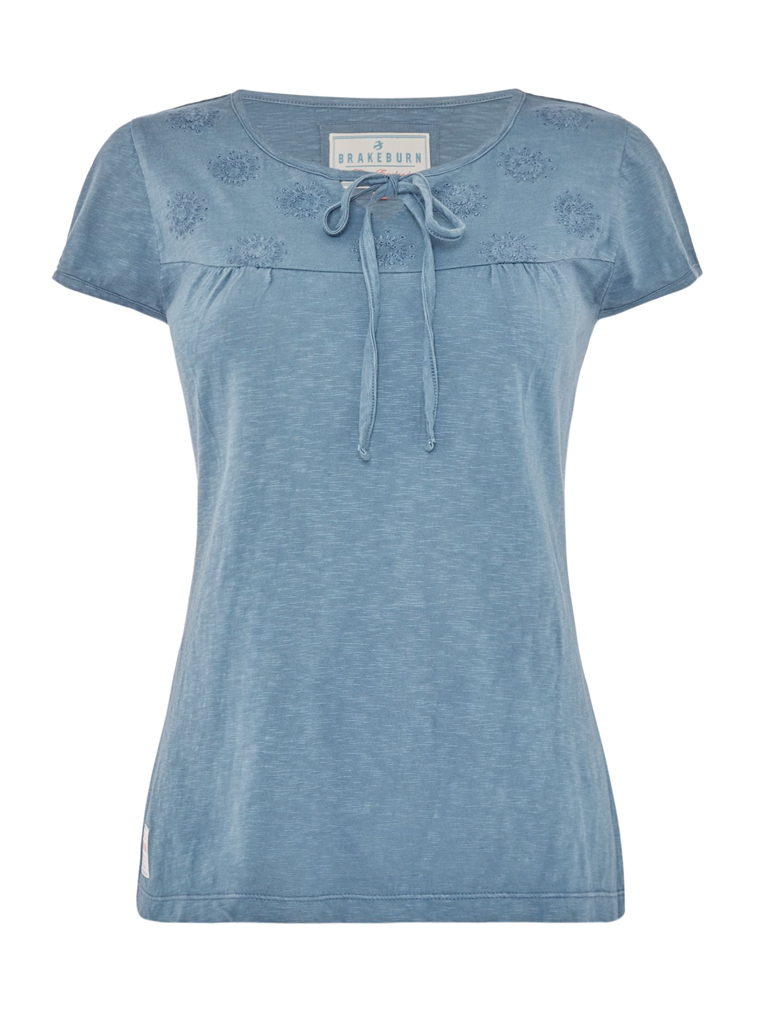 Brakeburn Lace up Short sleeve Tee, Blue