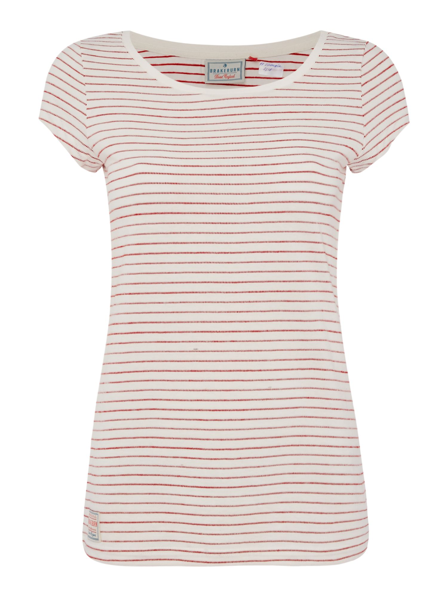 Brakeburn Striped Crew Neck Tee, Red