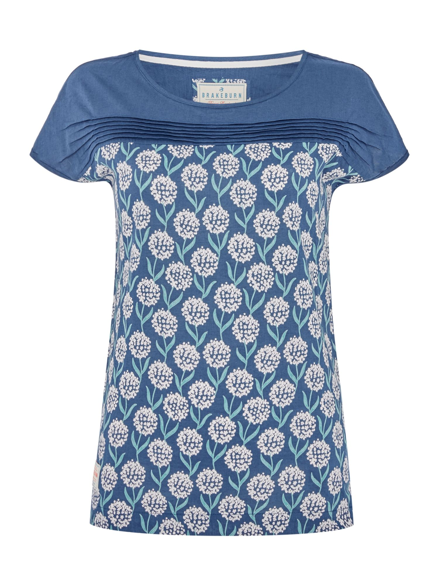 Brakeburn Flower Print Short Sleeve Crew Neck Tee, Blue