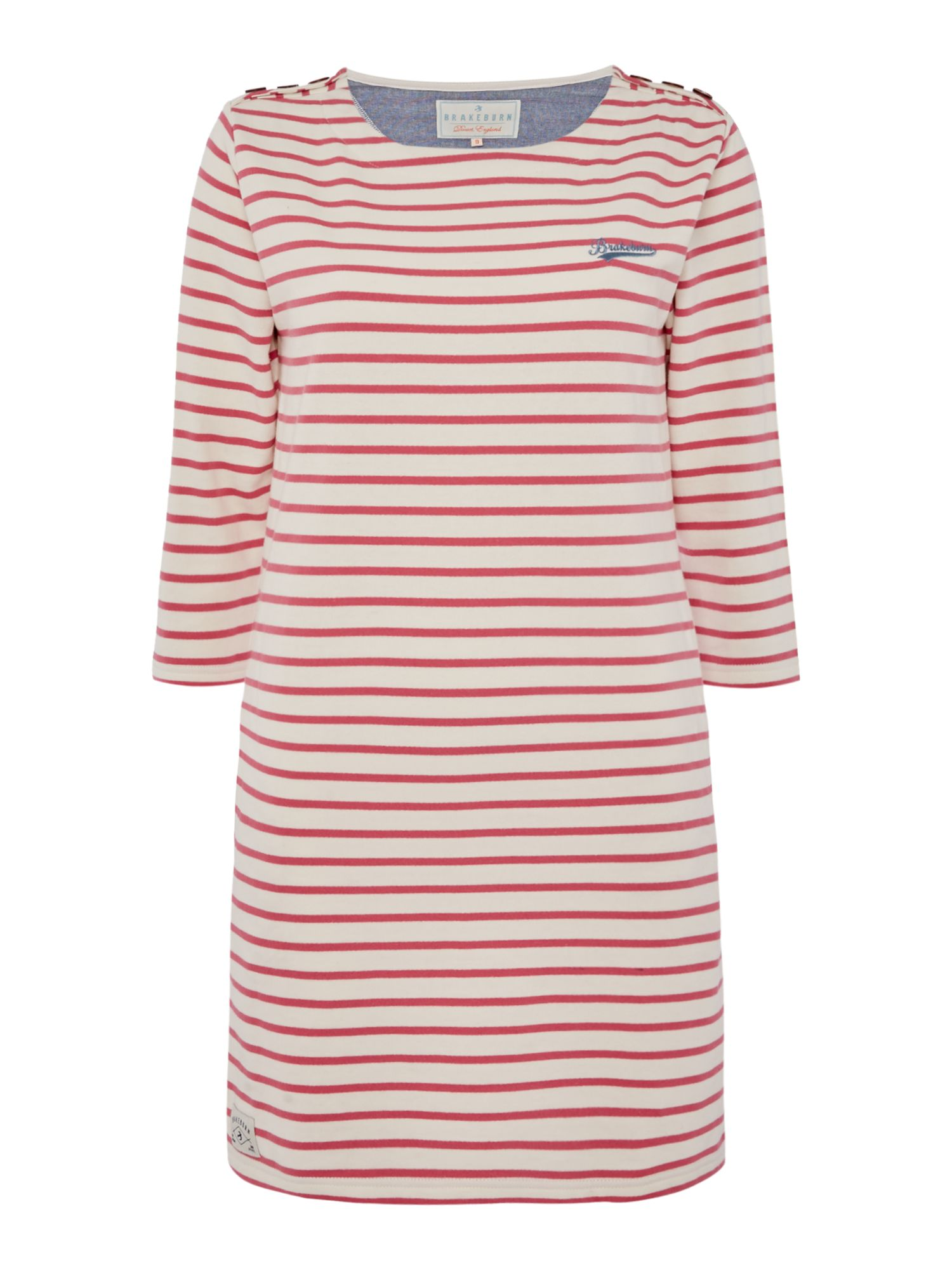 Brakeburn Bella 34 Sleeve Crew Neck Dress, White & Pink