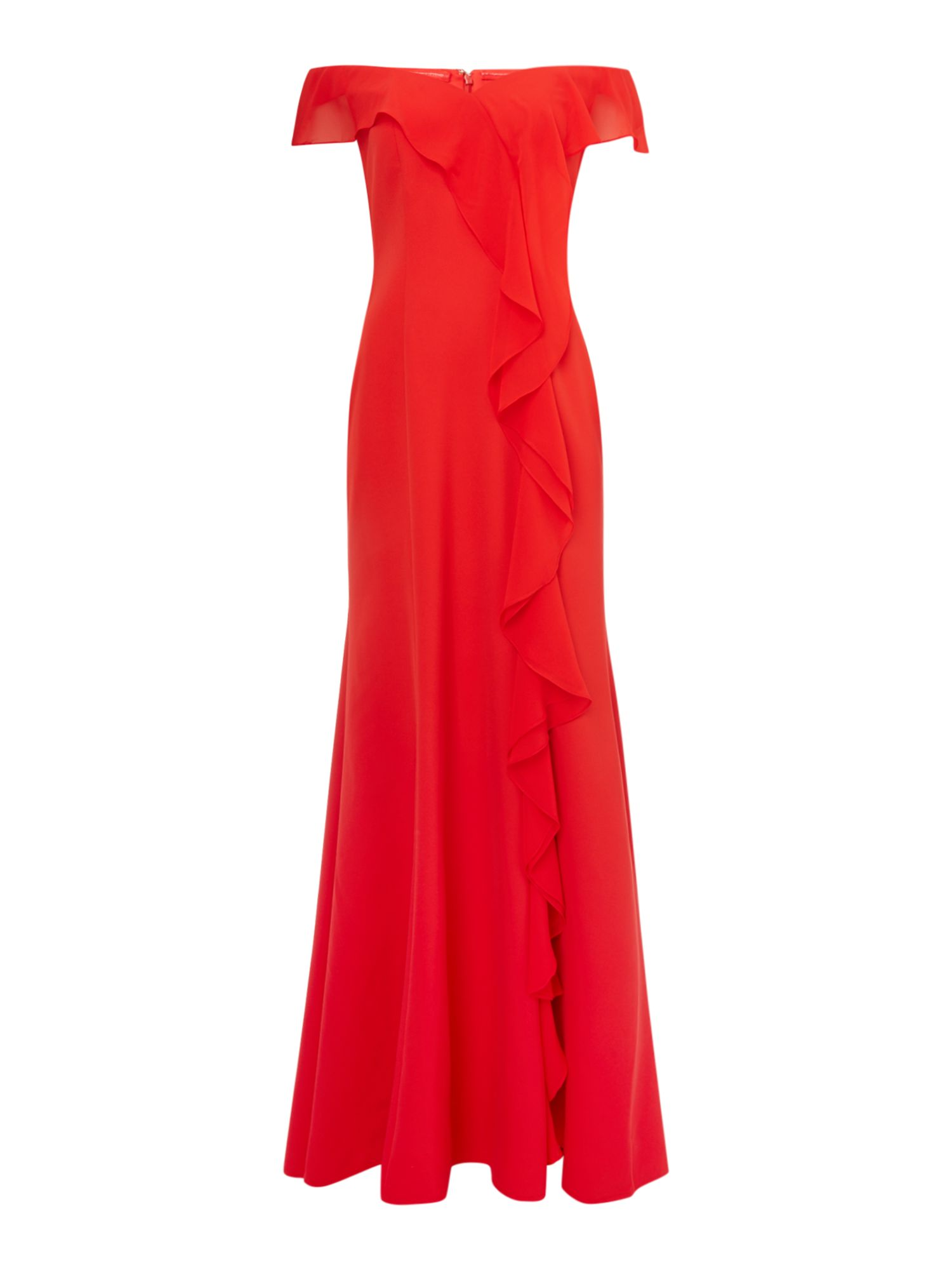 JS Collections Off shoulder gown with side ruffle detail, Red