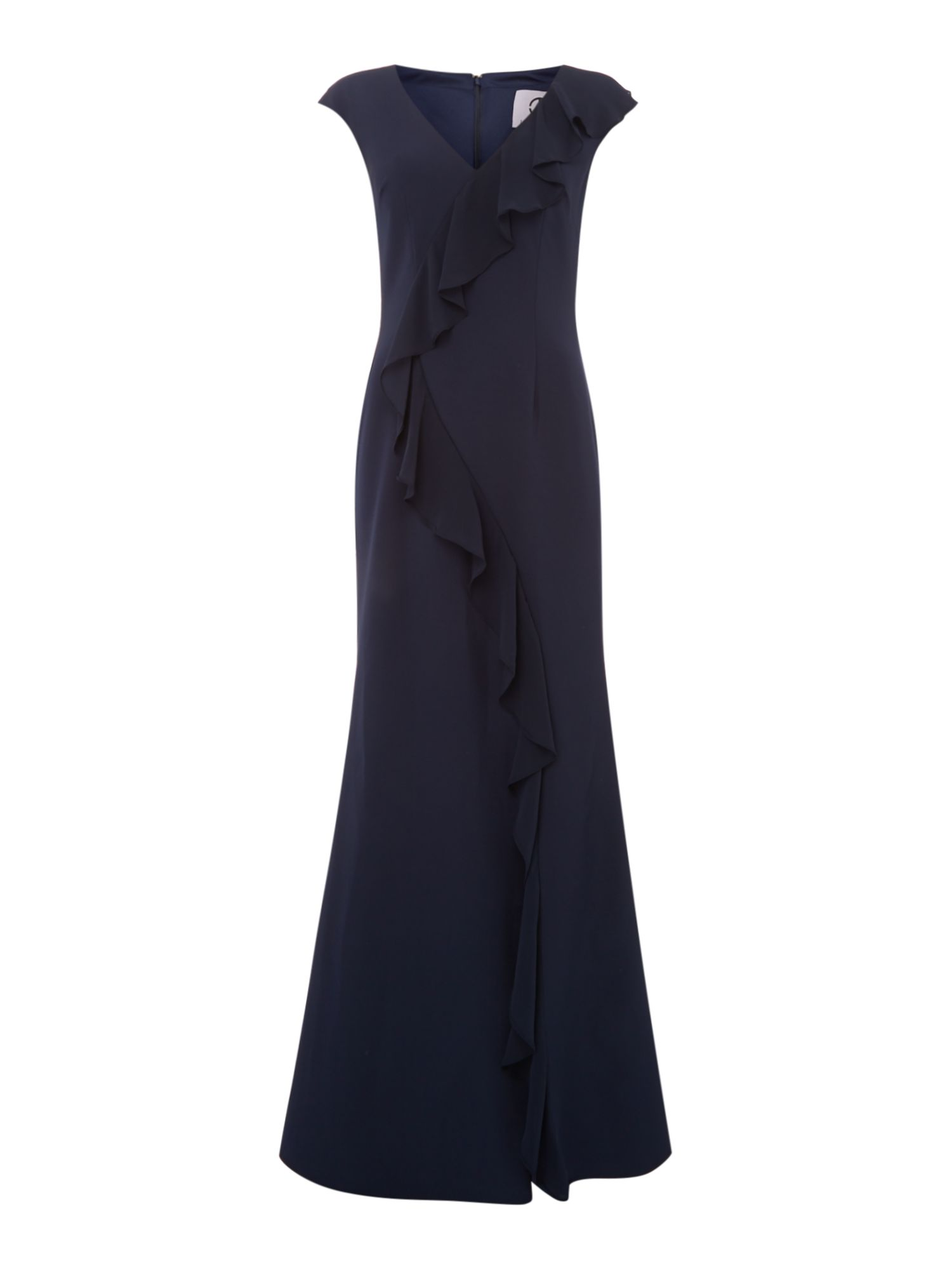 JS Collections V neck sleeveless gown, Blue