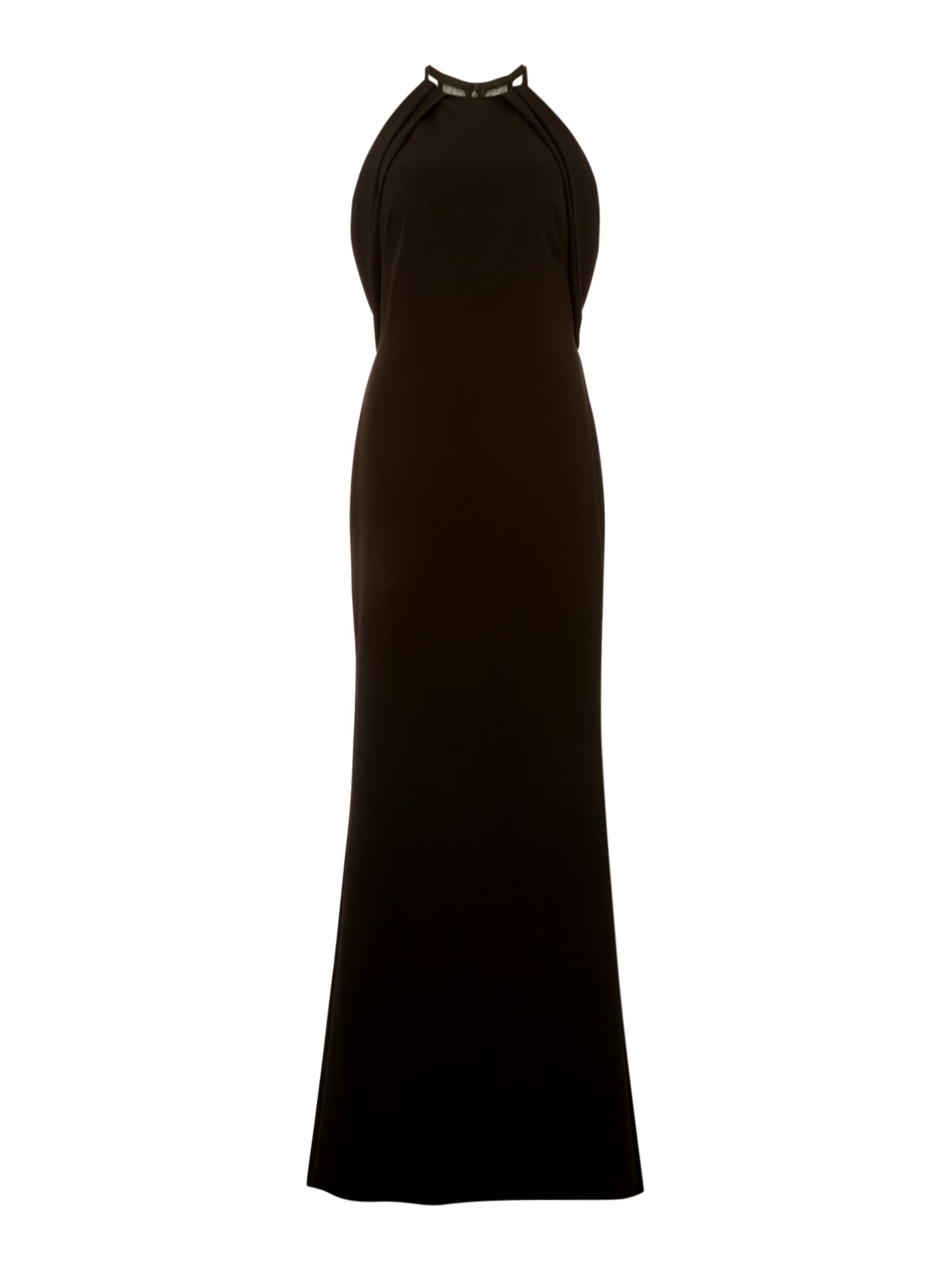 JS Collections Round neck gown with cape detail, Black