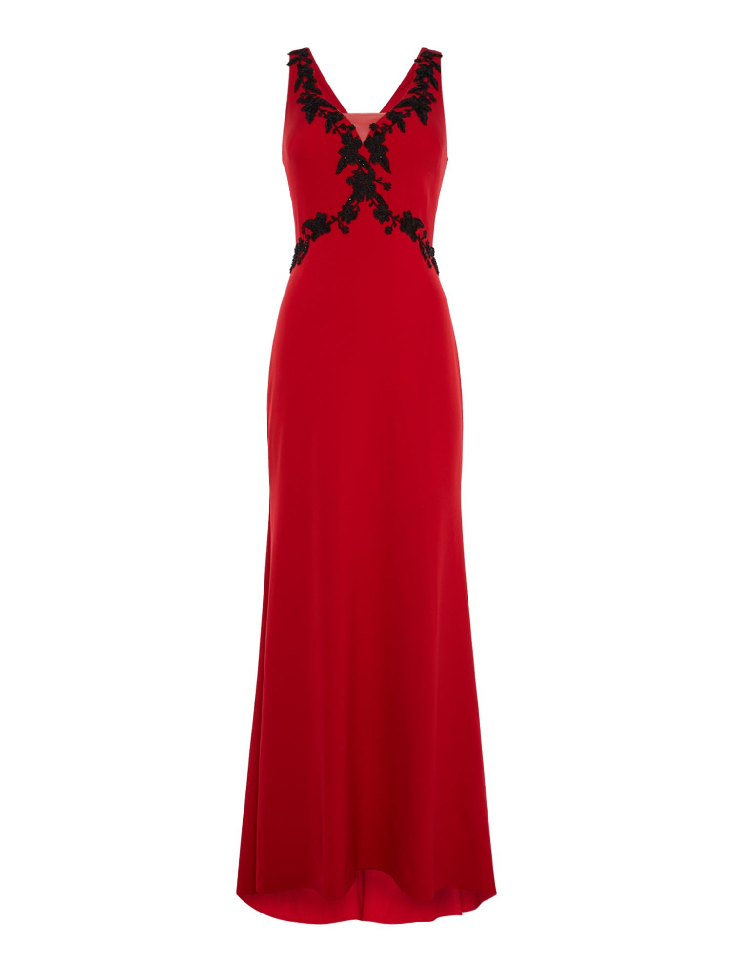 JS Collections V neck gown with floral edge, Red