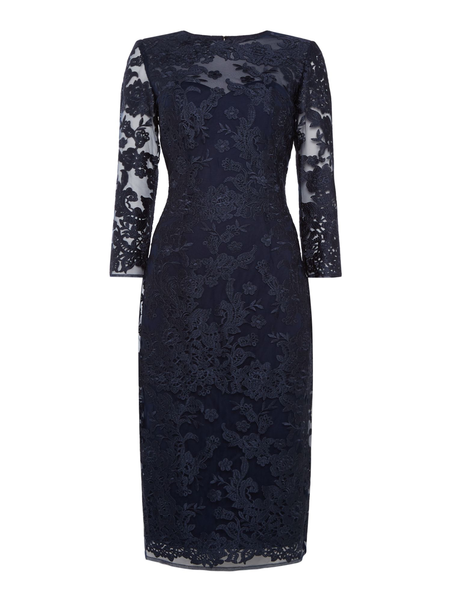 JS Collections Long sleeve lace bodycon dress, Blue