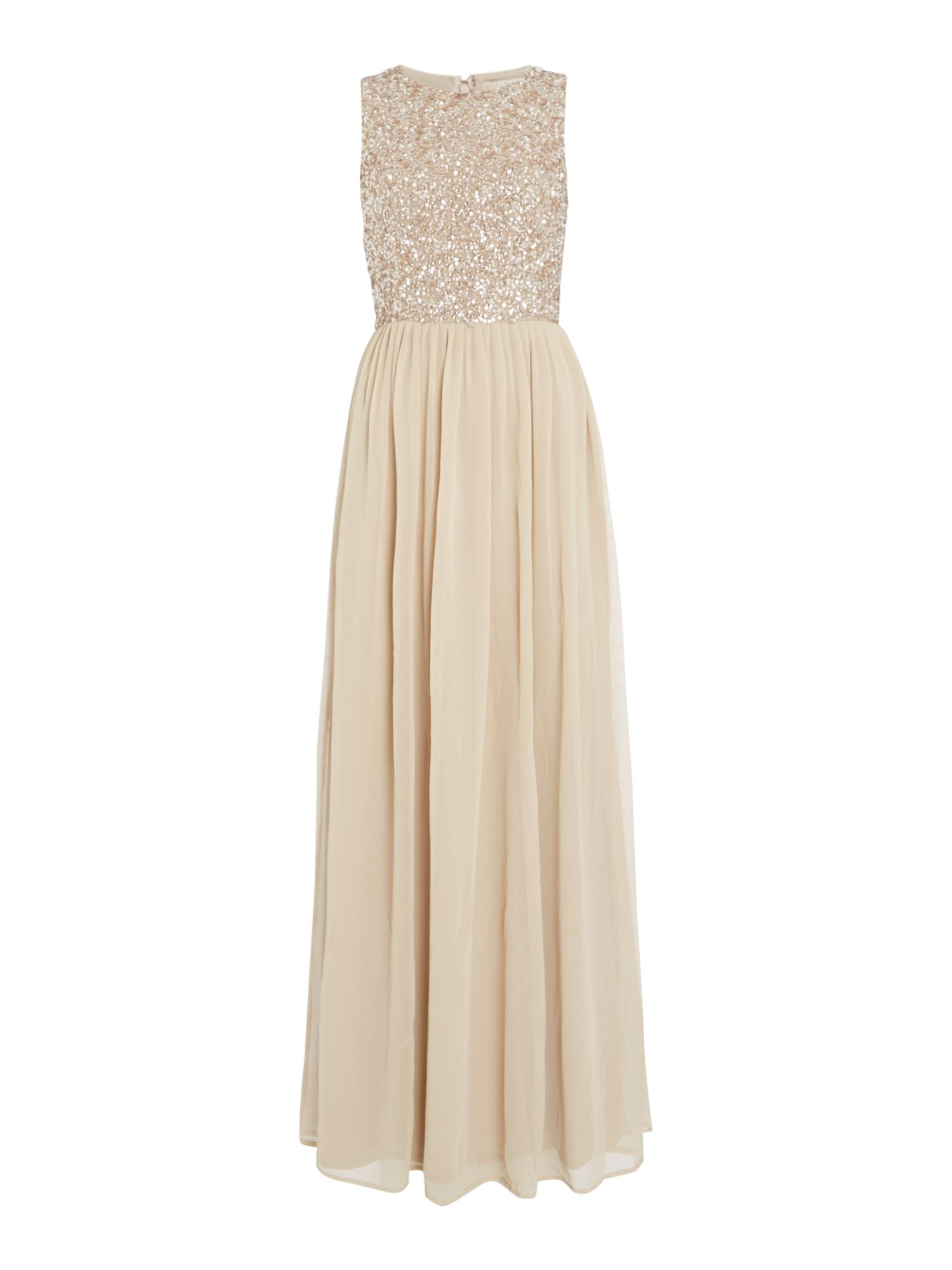 Lace and Beads High neck embellished maxi dress, Nude