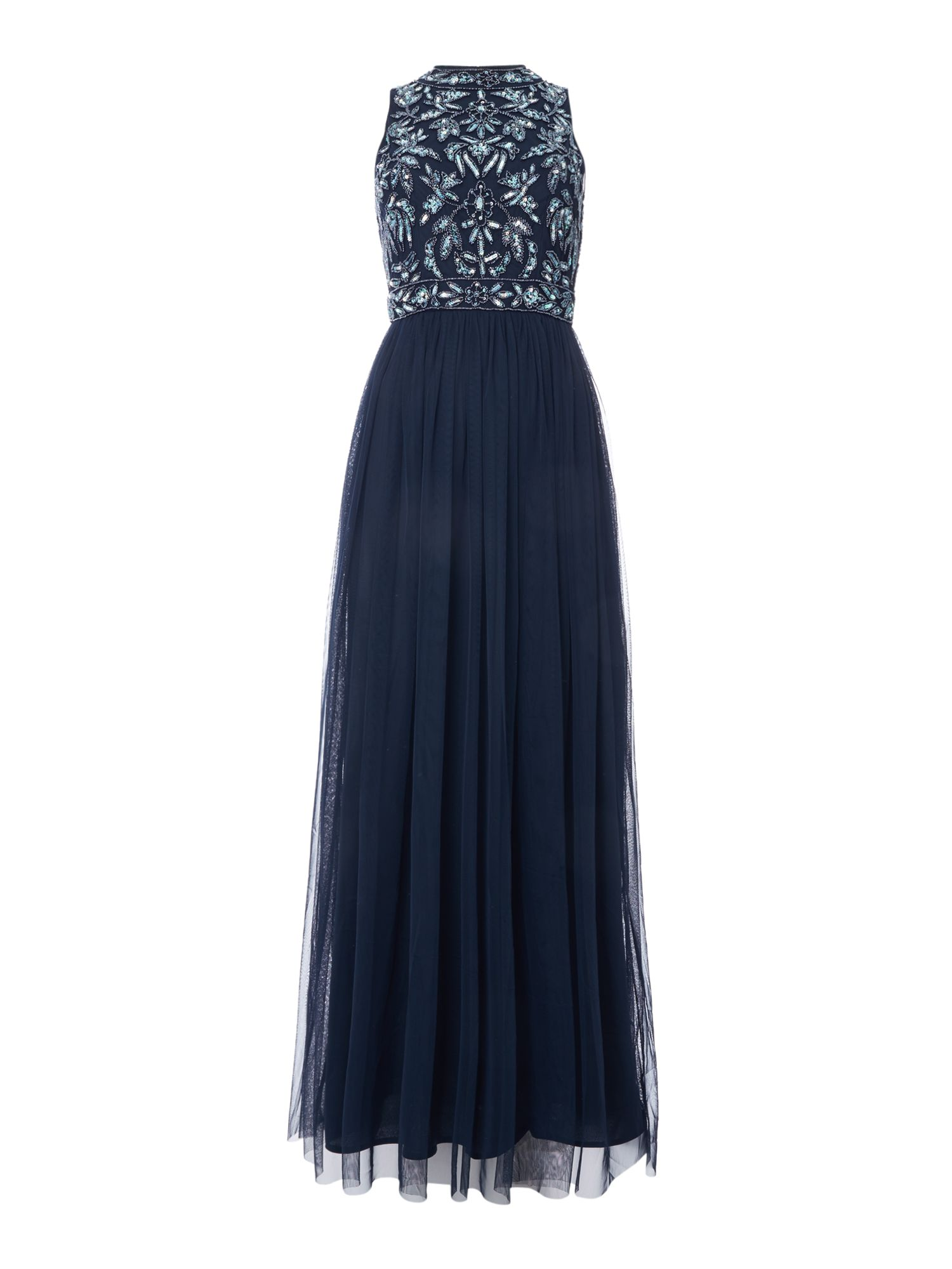Lace and Beads High neck embellished top maxi dress, Blue