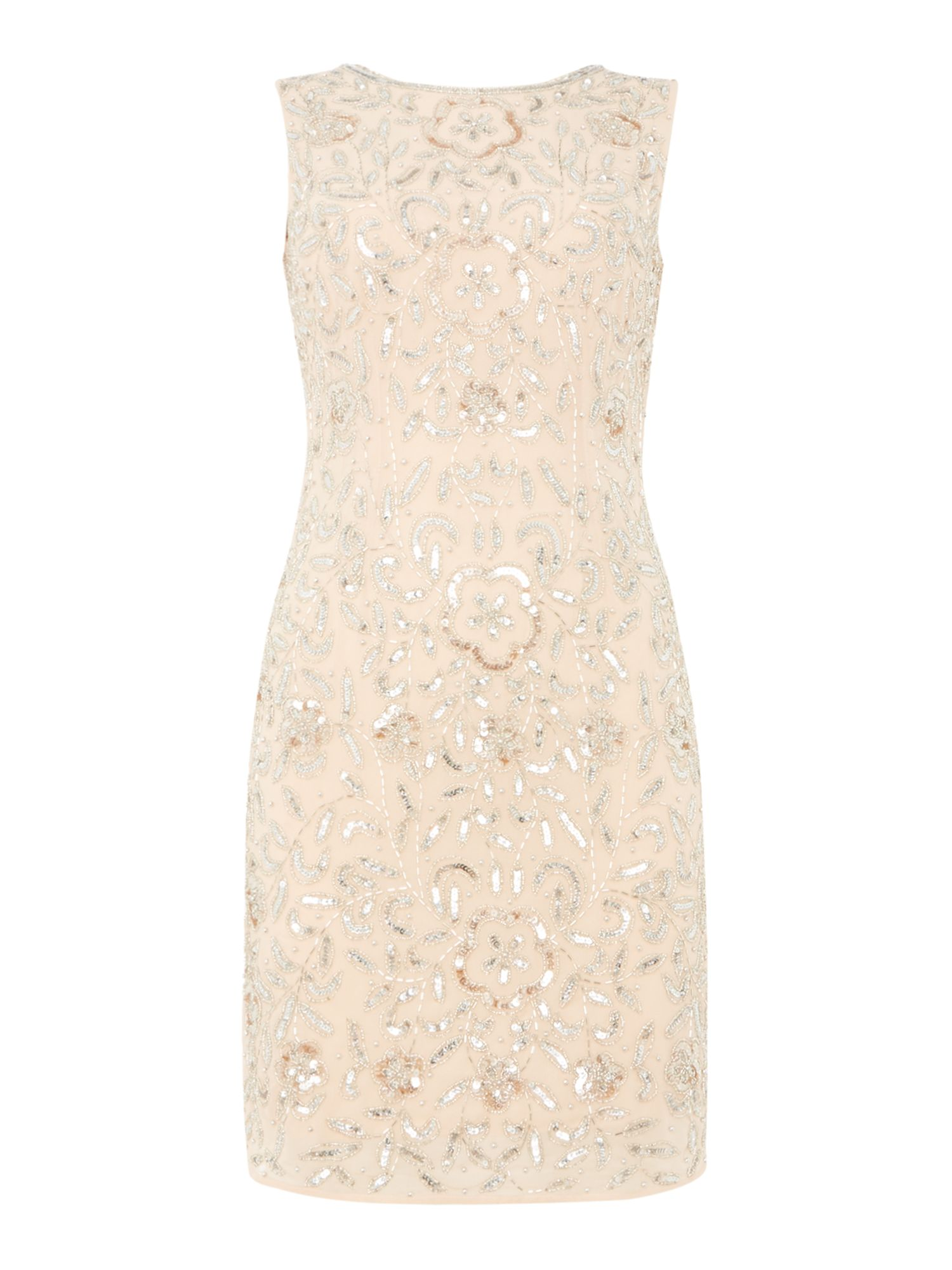 Lace and Beads Round neck embellished shift dress, Nude