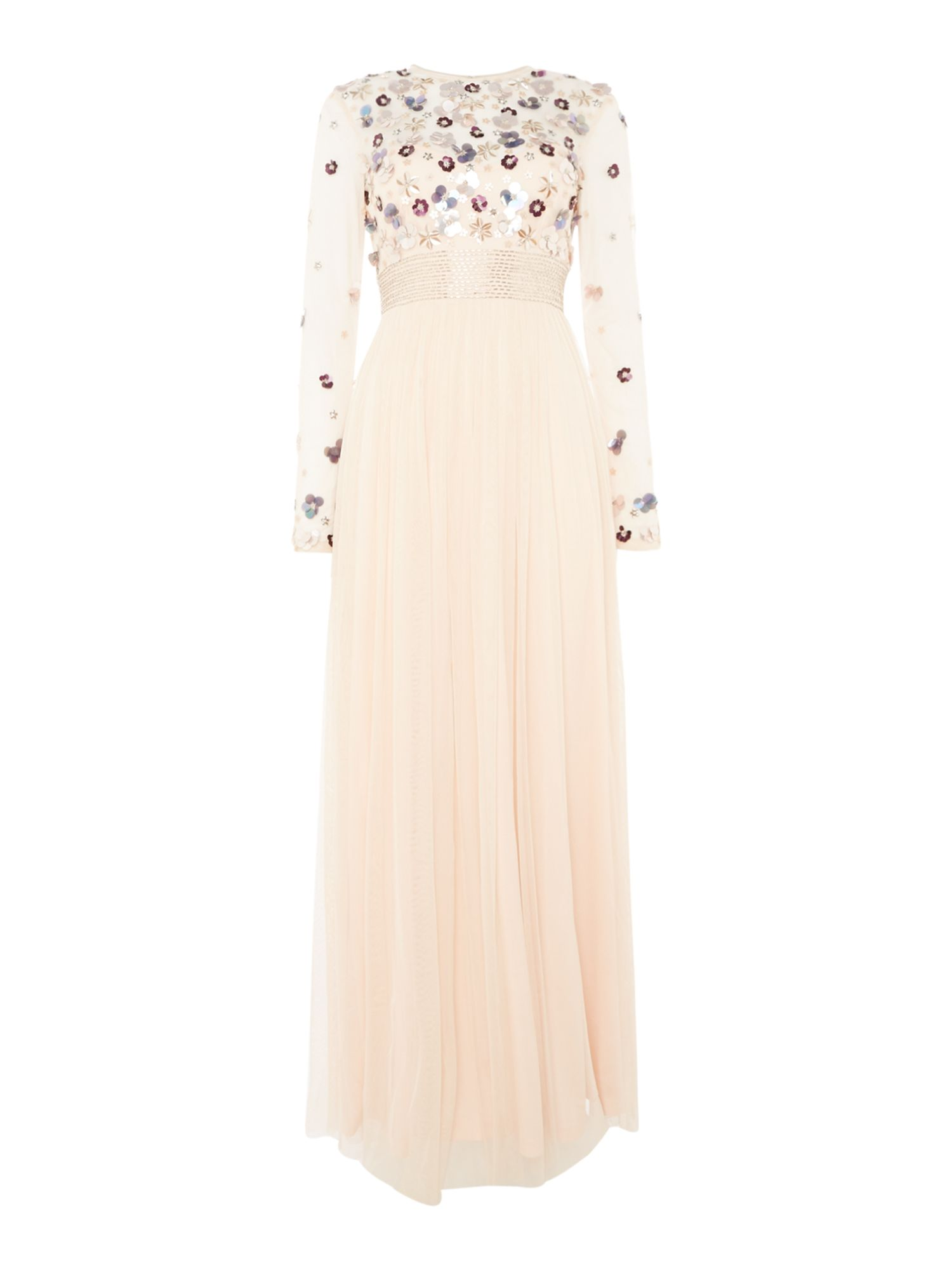 Lace and Beads Long sleeve floral top gown, Nude