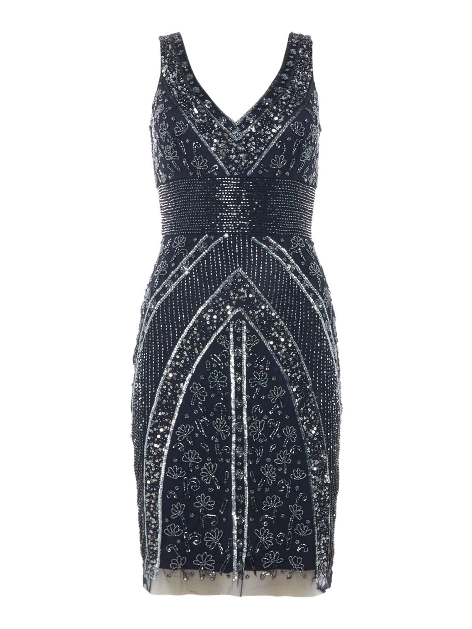 Lace and Beads Low V neck shift dress, Blue
