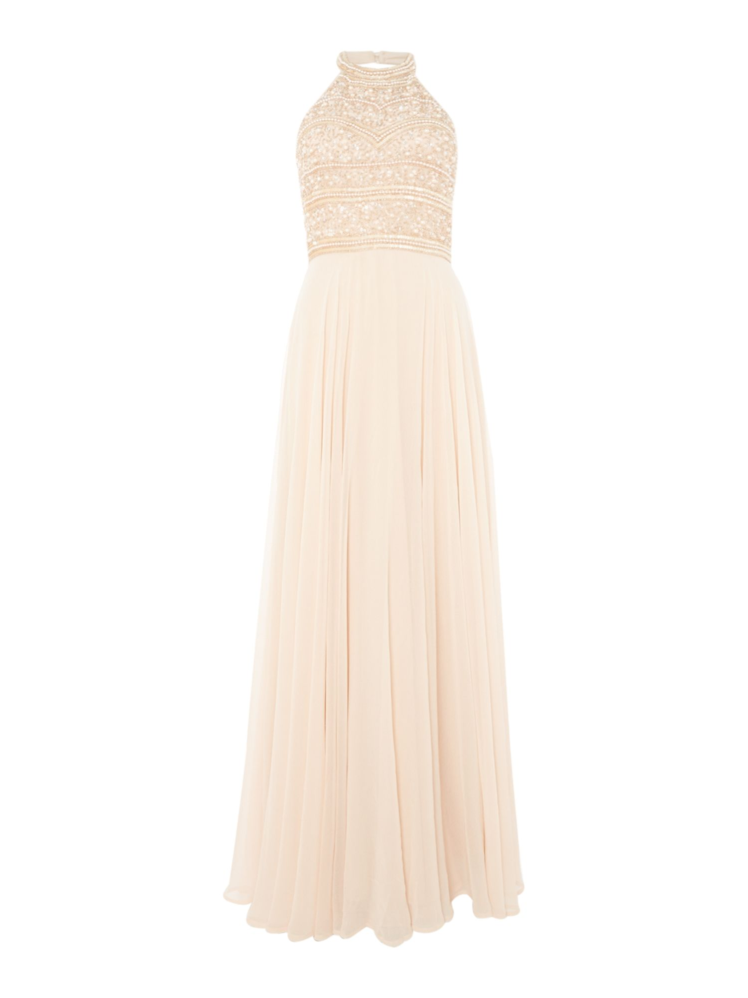Lace and Beads High neck embellished gown, Nude