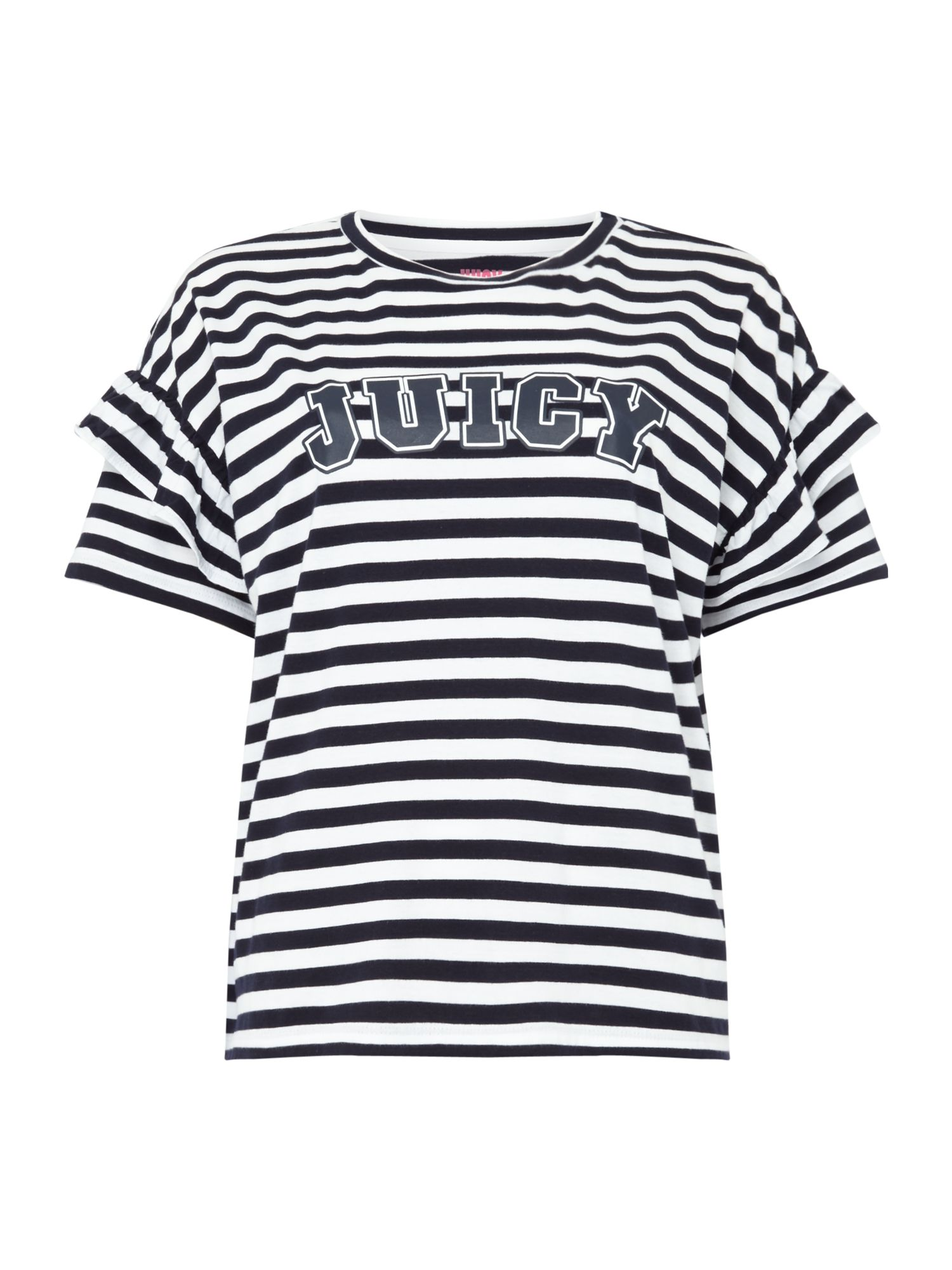 Juicy by Juicy Couture Short Sleeve Striped Logo Ruffle Sleeve T-Shirt, White & Blue